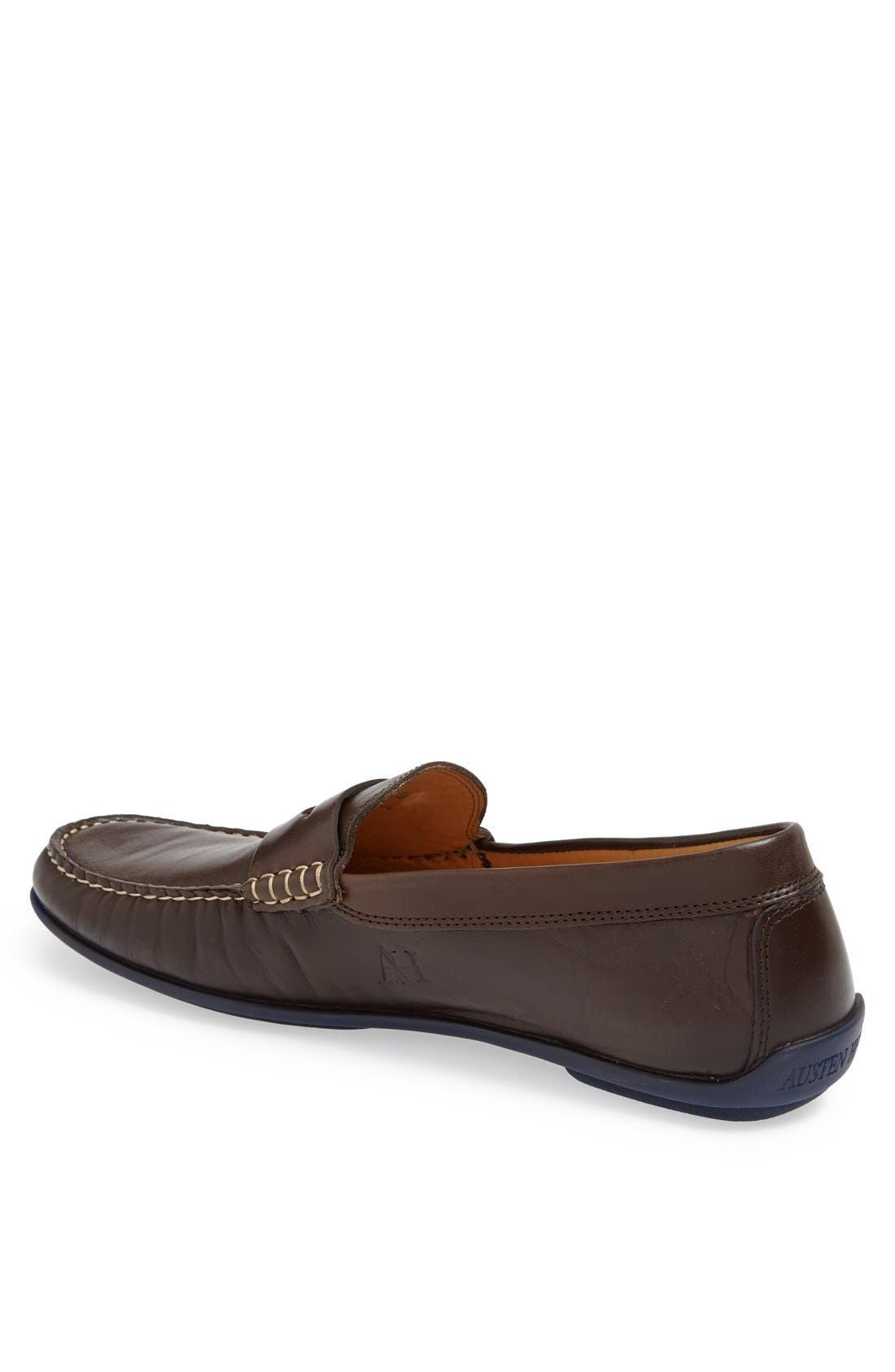 'Strattons' Driving Shoe,                             Alternate thumbnail 7, color,                             BROWN LEATHER/ NAVY