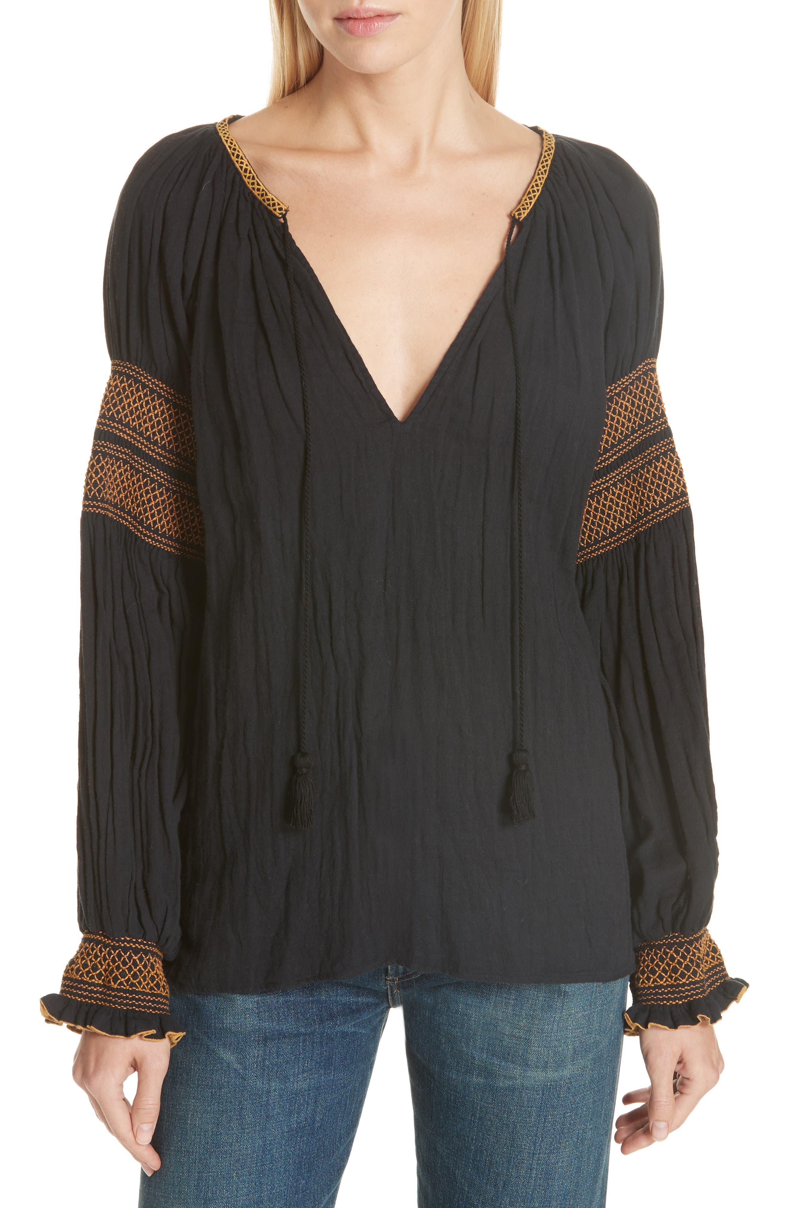 Smock Detail Cotton Top,                         Main,                         color, BLACK
