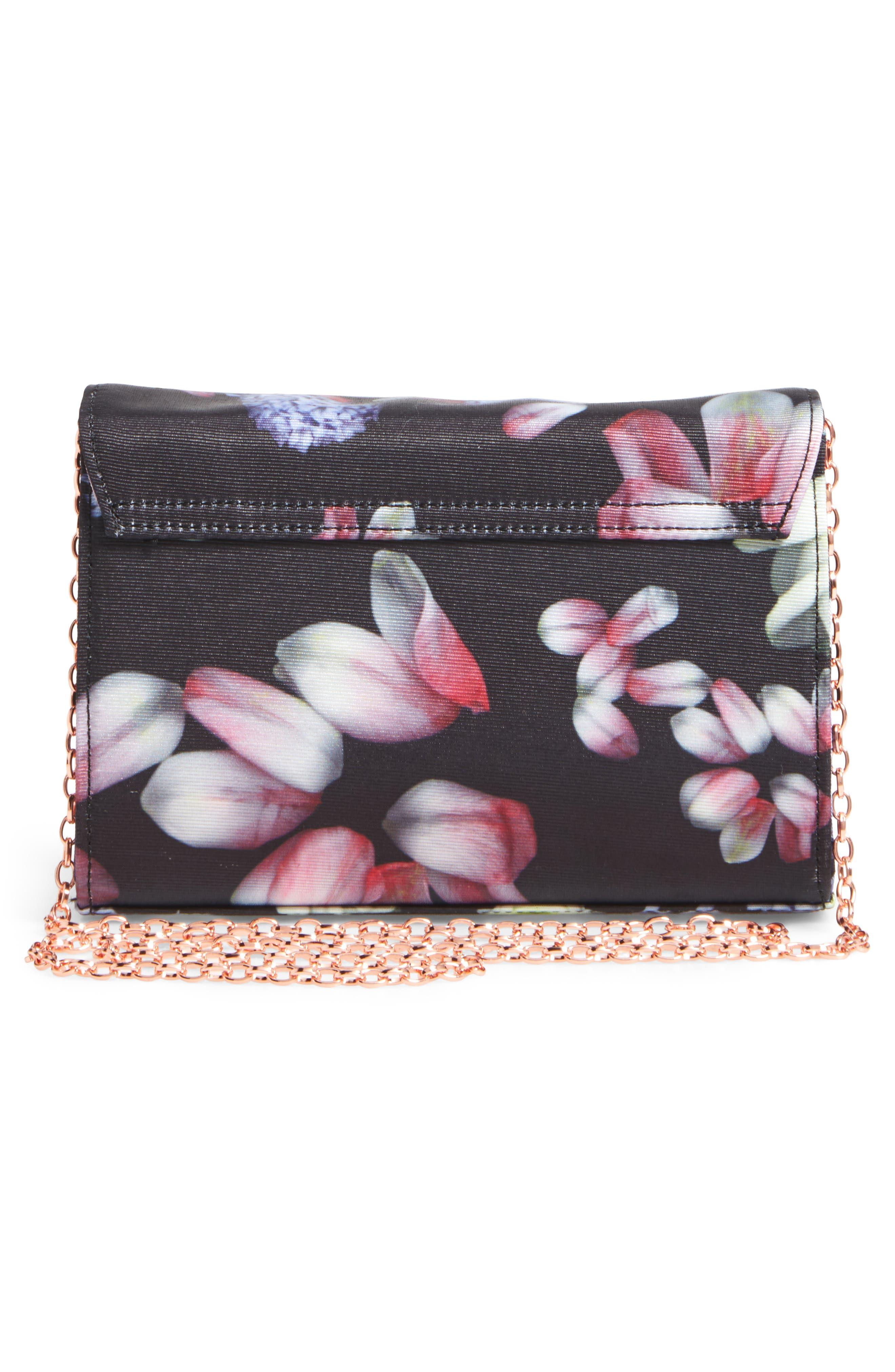Jenniee Kensington Floral Bow Clutch,                             Alternate thumbnail 3, color,                             001