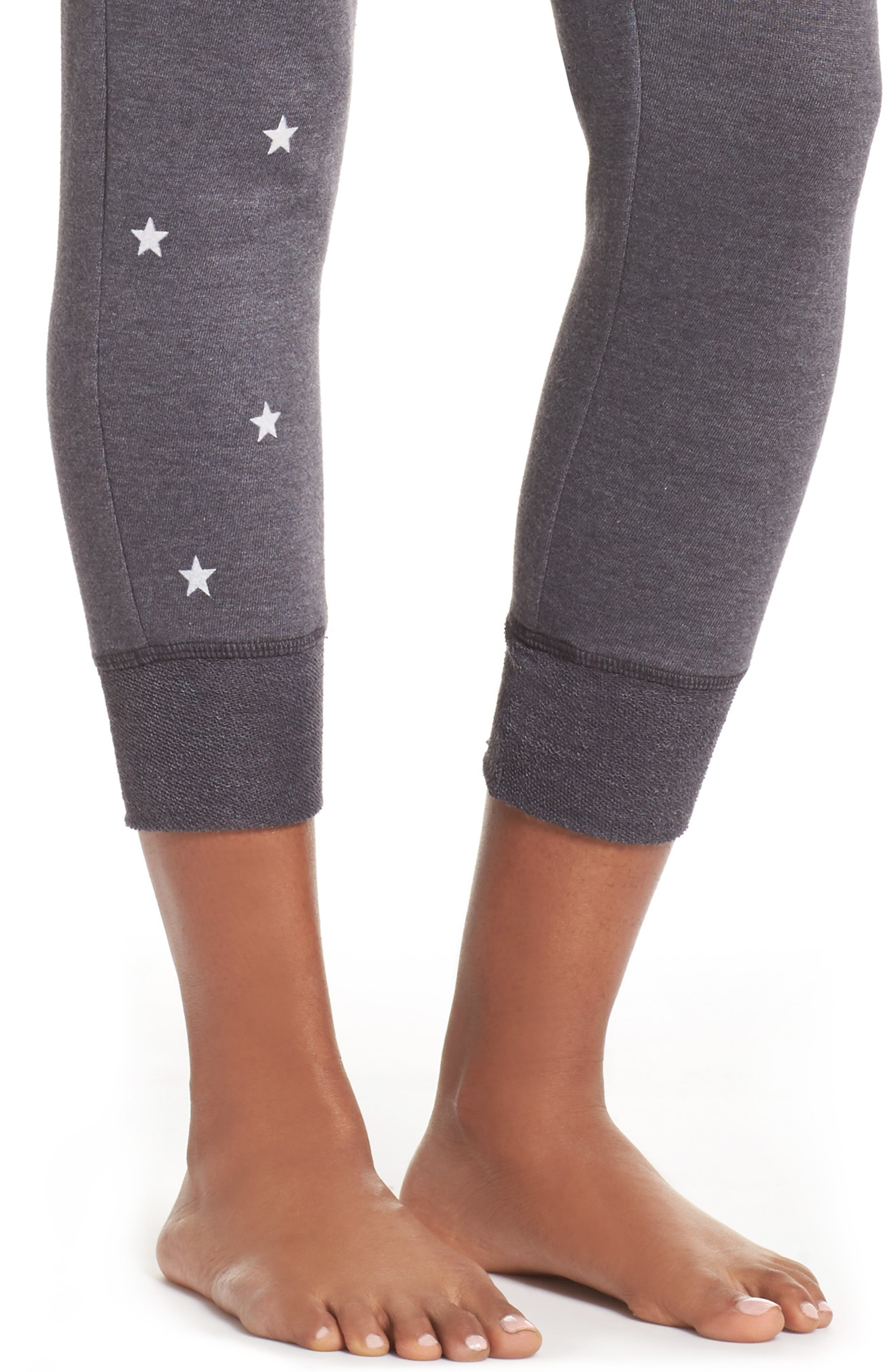 Stars Crop Lounge Pants,                             Alternate thumbnail 4, color,                             001