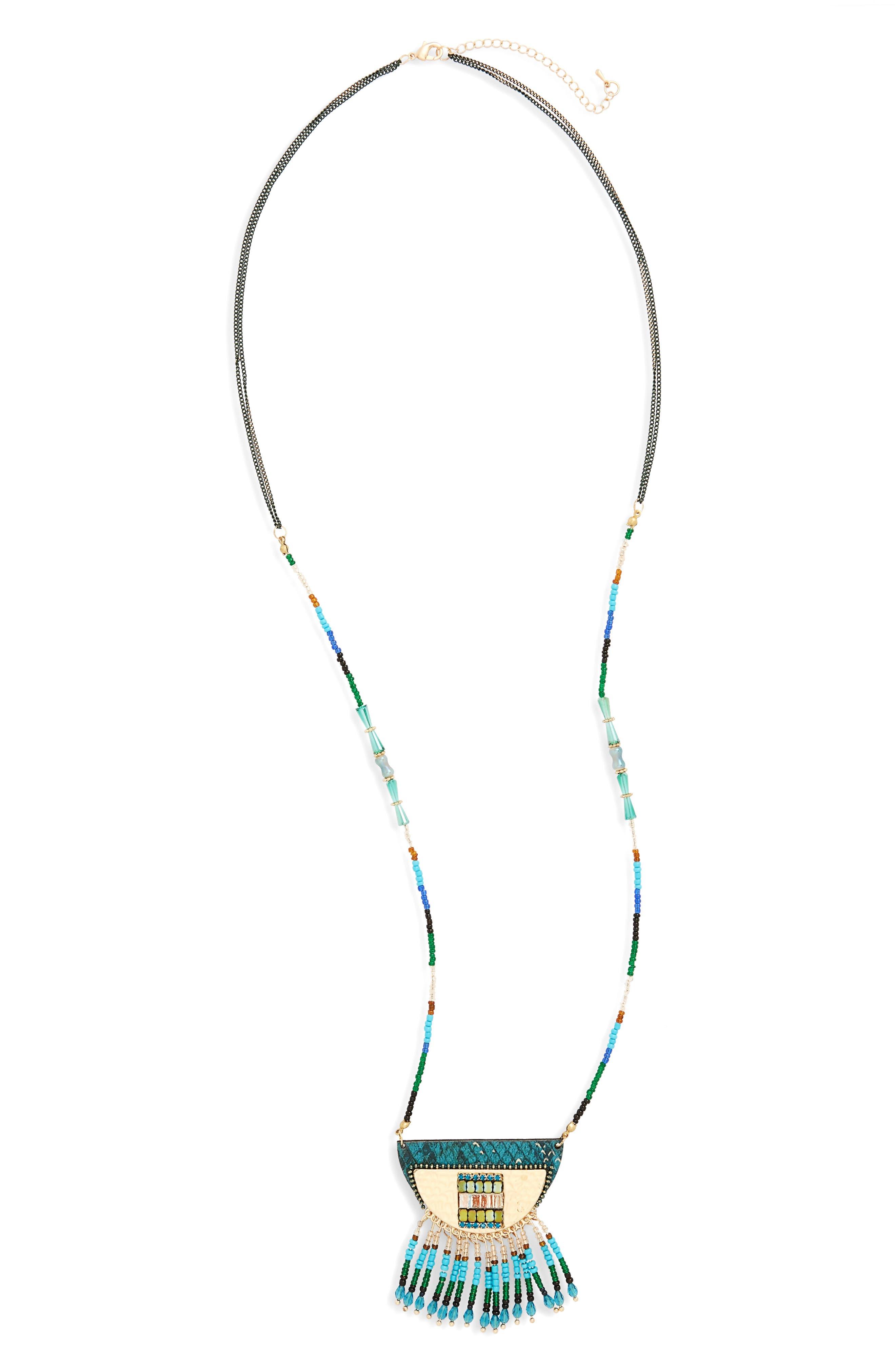 Fringe Pendant Necklace,                         Main,                         color, 301