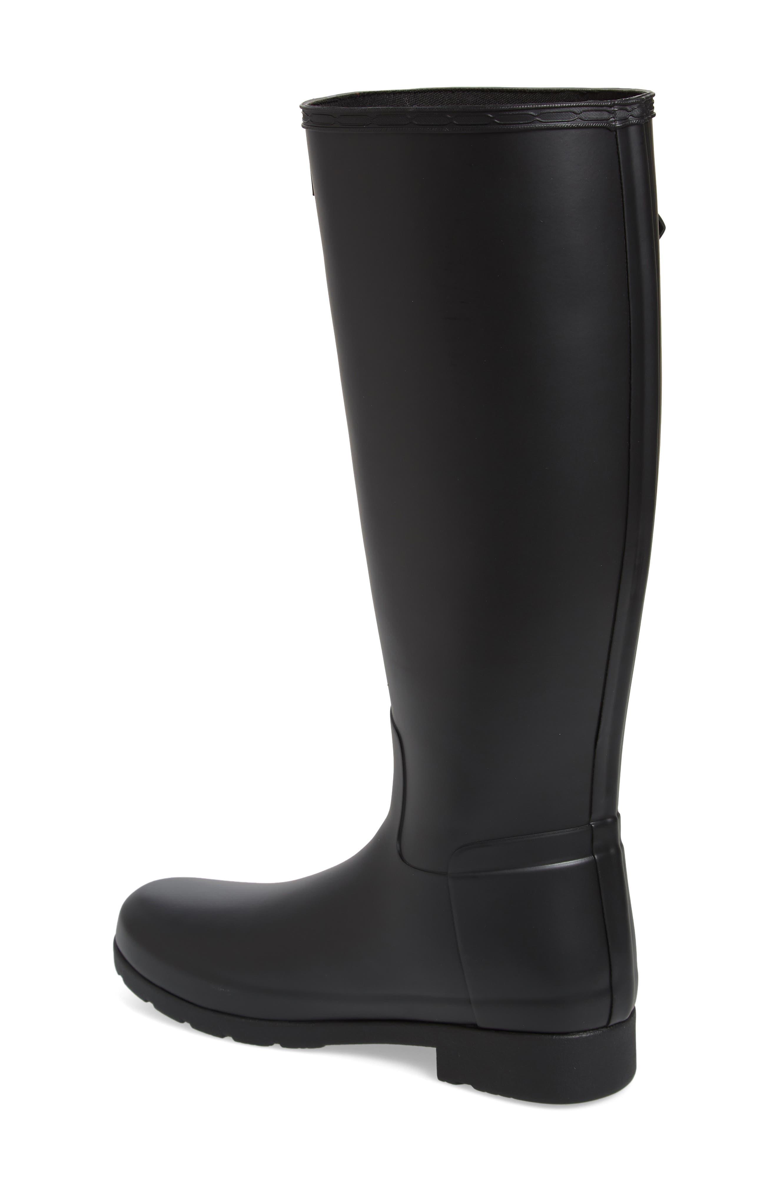 HUNTER,                             Original Refined Waterproof Rain Boot,                             Alternate thumbnail 2, color,                             BLACK REGULAR