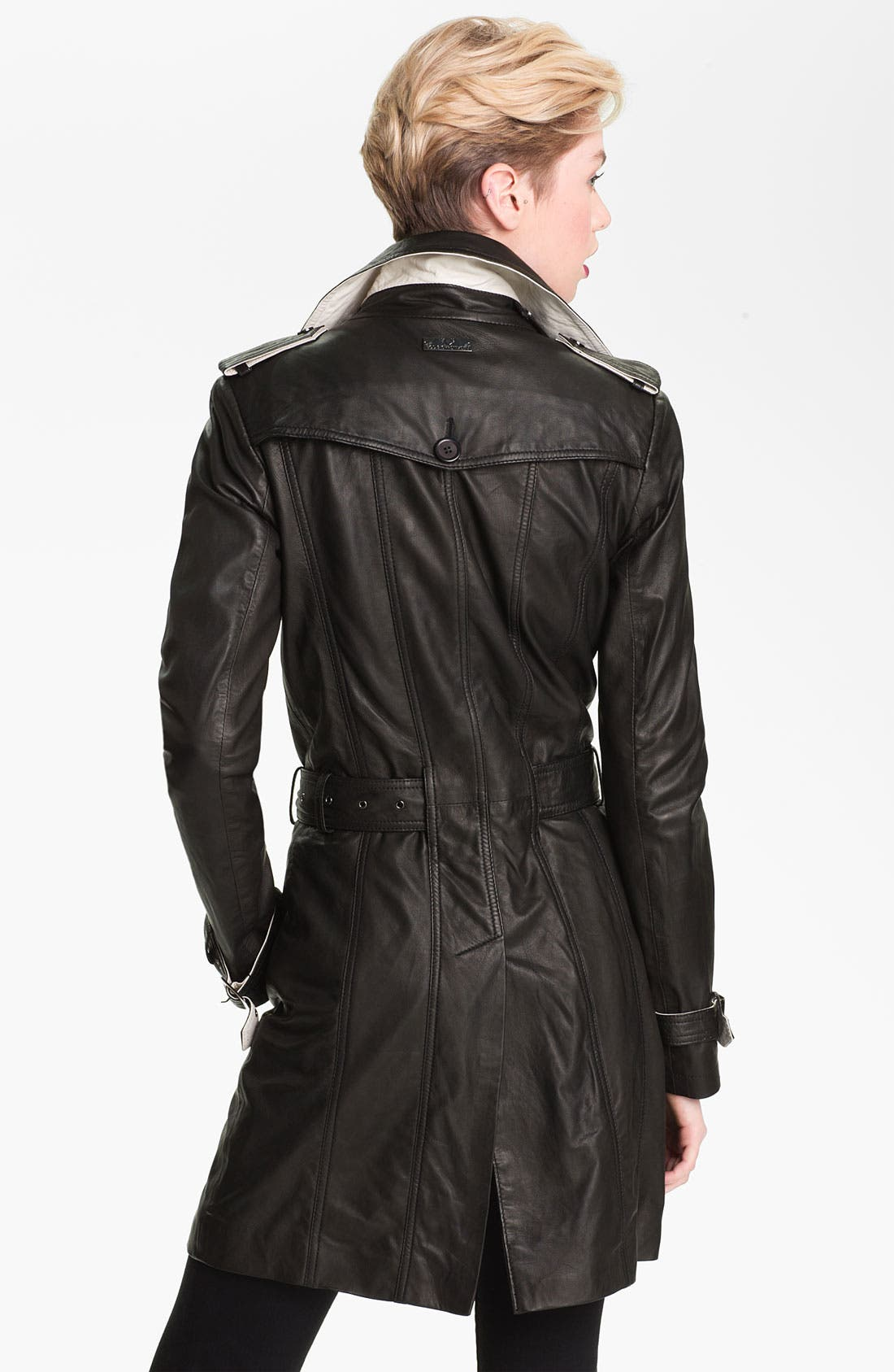 Double Breasted Leather Trench Coat,                             Alternate thumbnail 4, color,                             001
