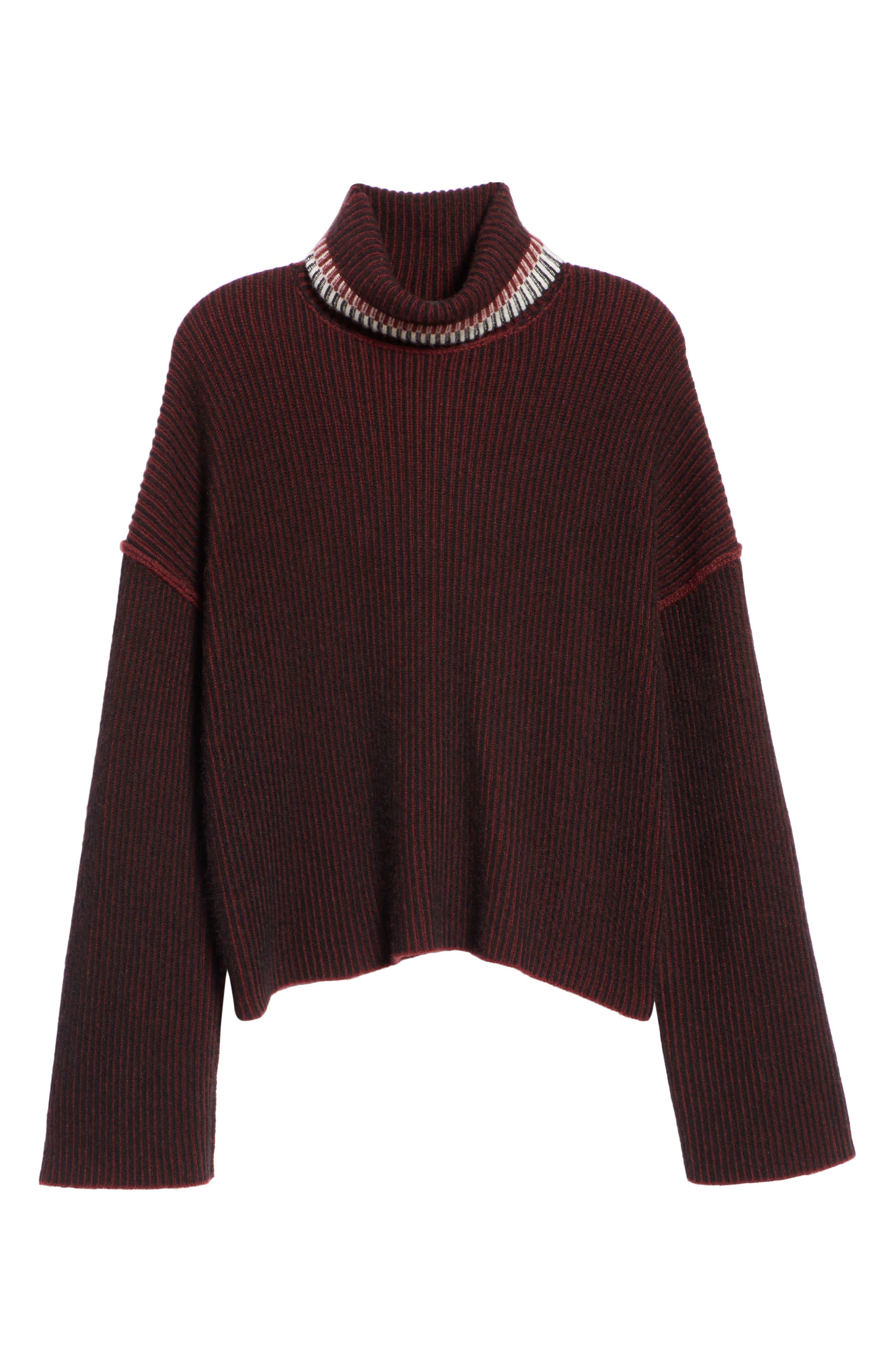 Oversize Cashmere Turtleneck Sweater,                             Alternate thumbnail 6, color,                             DARK CURRANT MIX