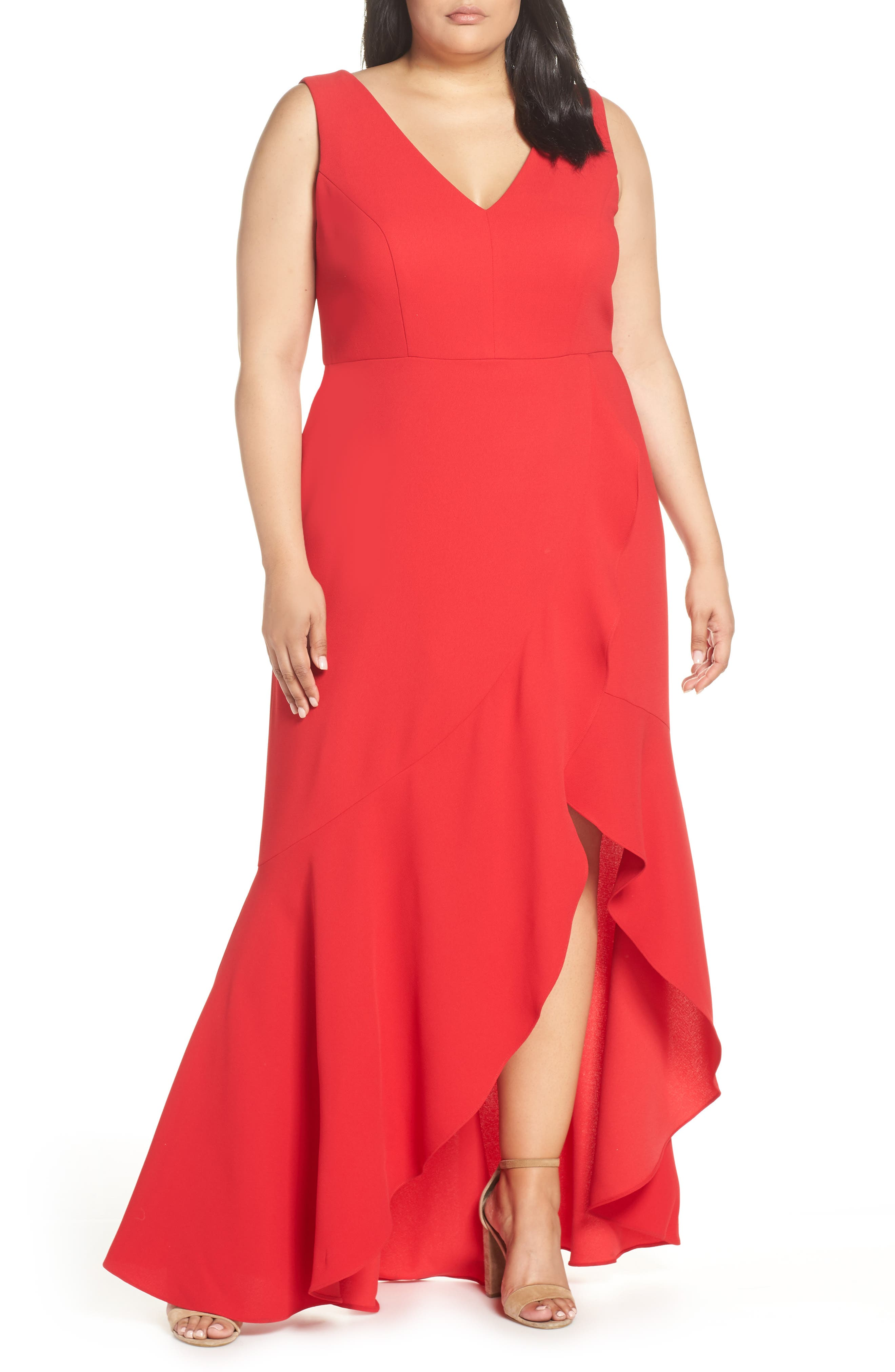 Plus Size Xscape Ruffle Front Crepe Dress, Red