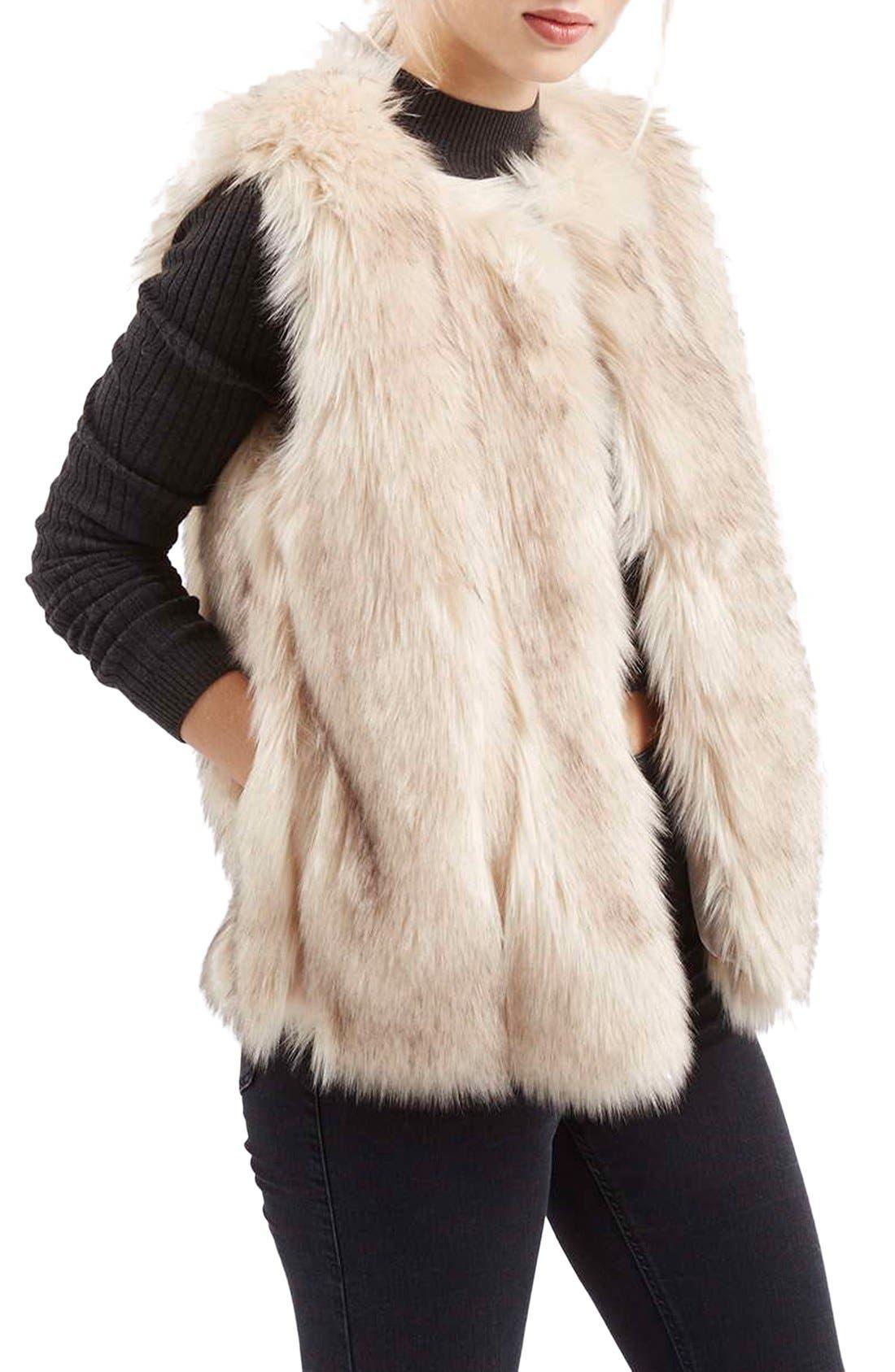 'Leah' Faux Fur Vest, Main, color, 900