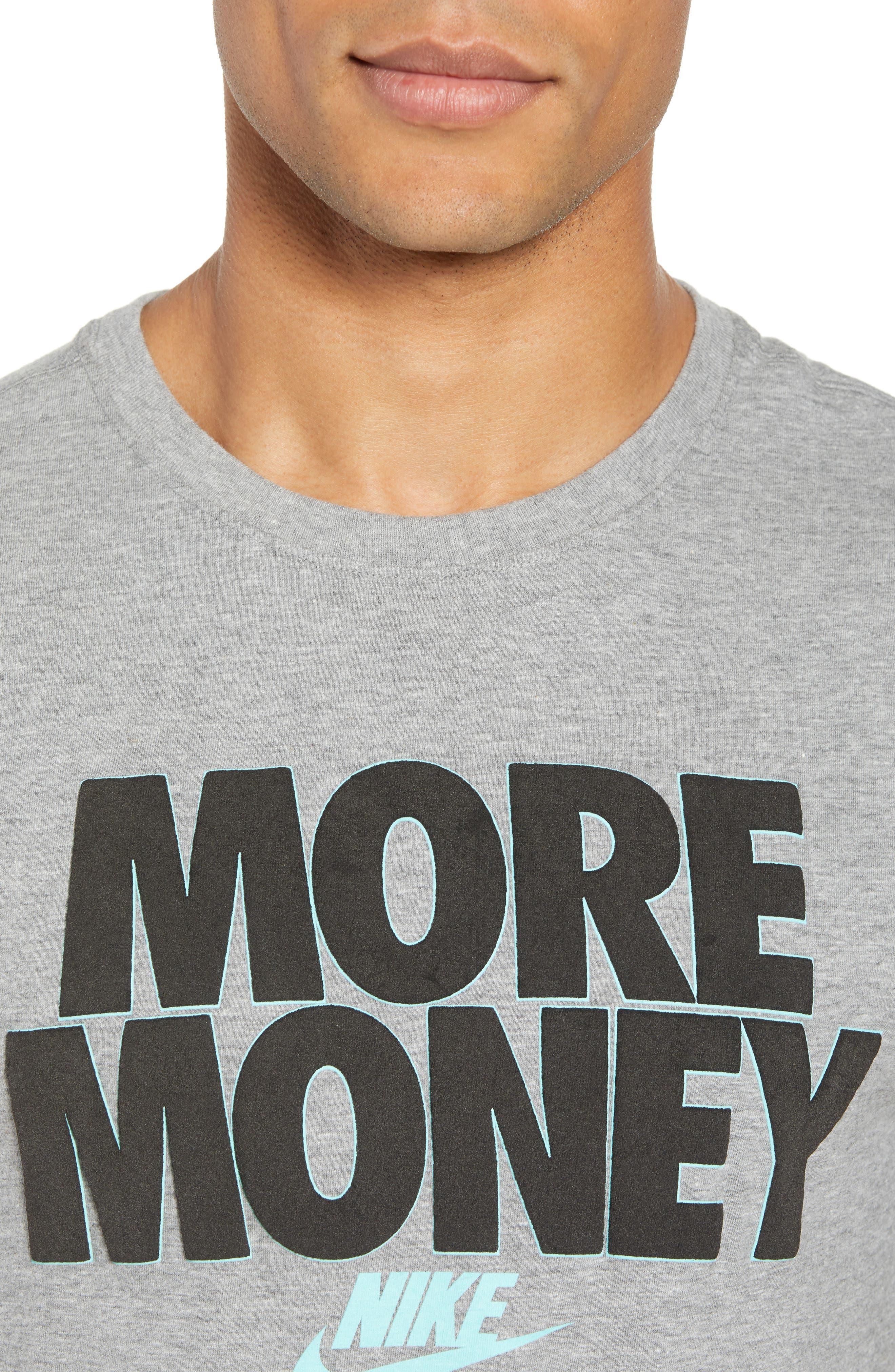 Sportswear More Money T-Shirt,                             Alternate thumbnail 4, color,                             DK GREY HEATHER/ BLACK
