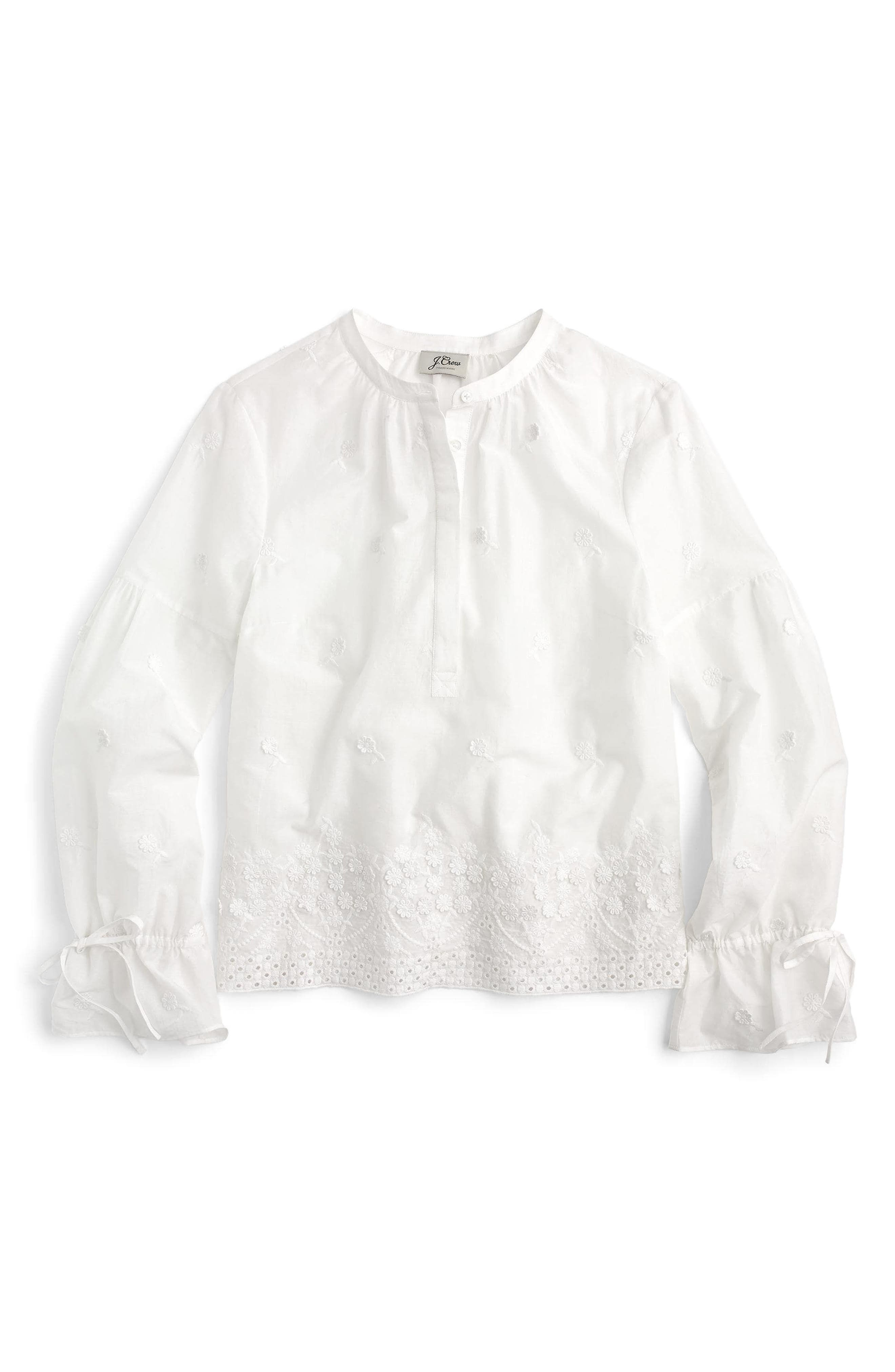 Floral Embroidered Popover Blouse,                             Main thumbnail 1, color,                             100