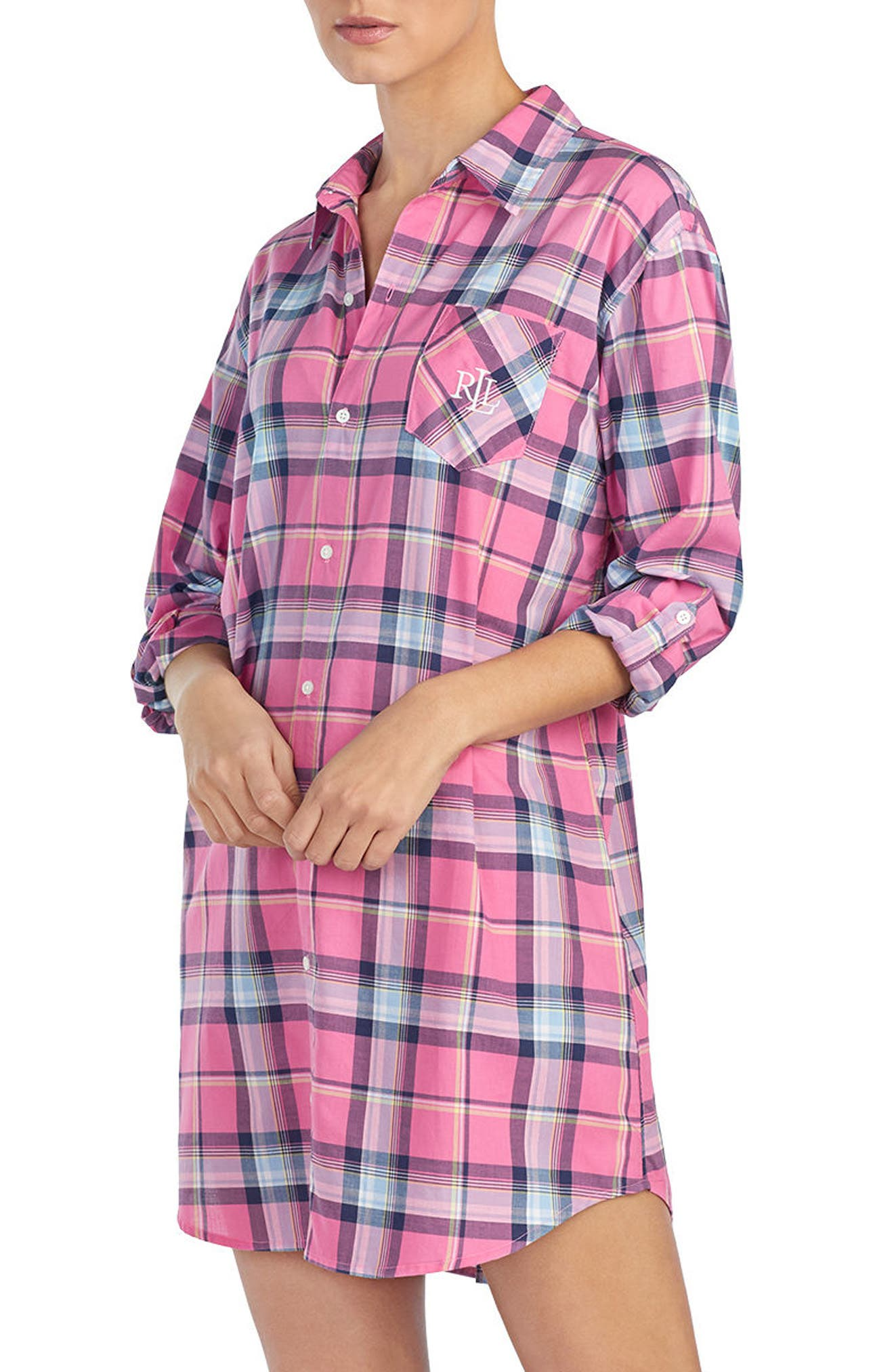 Plaid Sleep Shirt,                             Alternate thumbnail 3, color,                             RED PLAID
