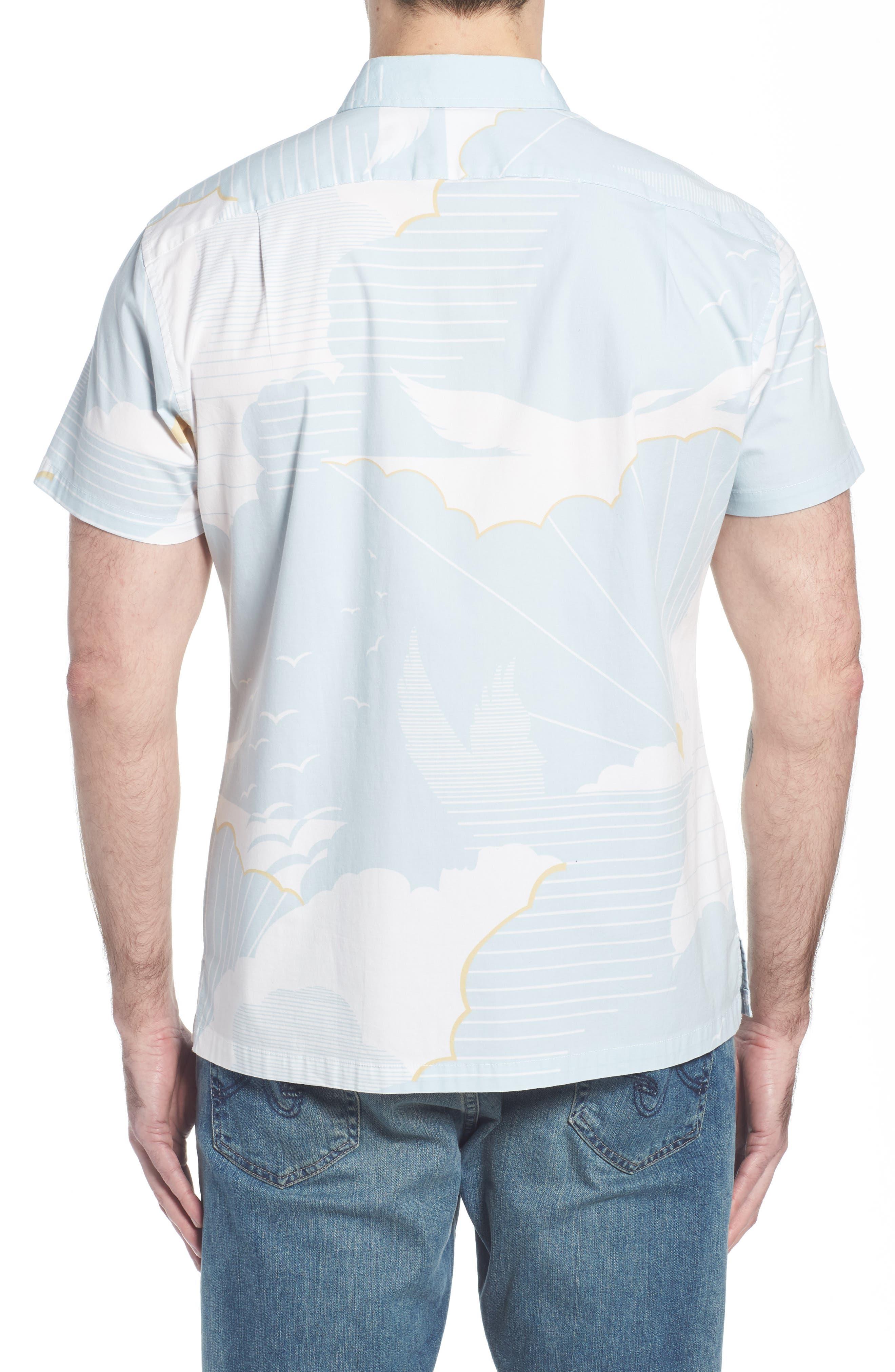 Daybreak Trim Fit Camp Shirt,                             Alternate thumbnail 2, color,                             WATER