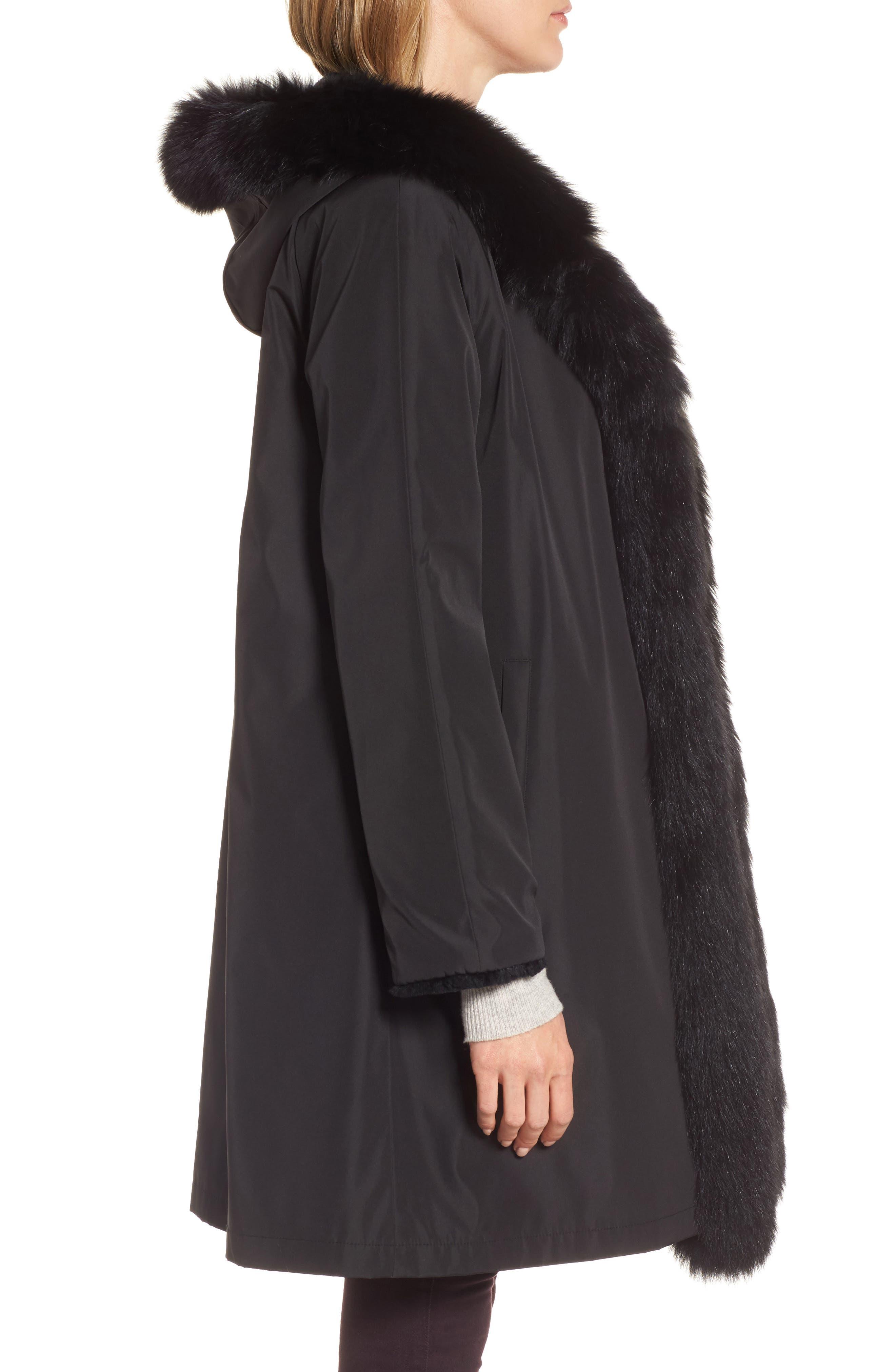 Hooded Reversible Genuine Fur Coat,                             Alternate thumbnail 3, color,                             003