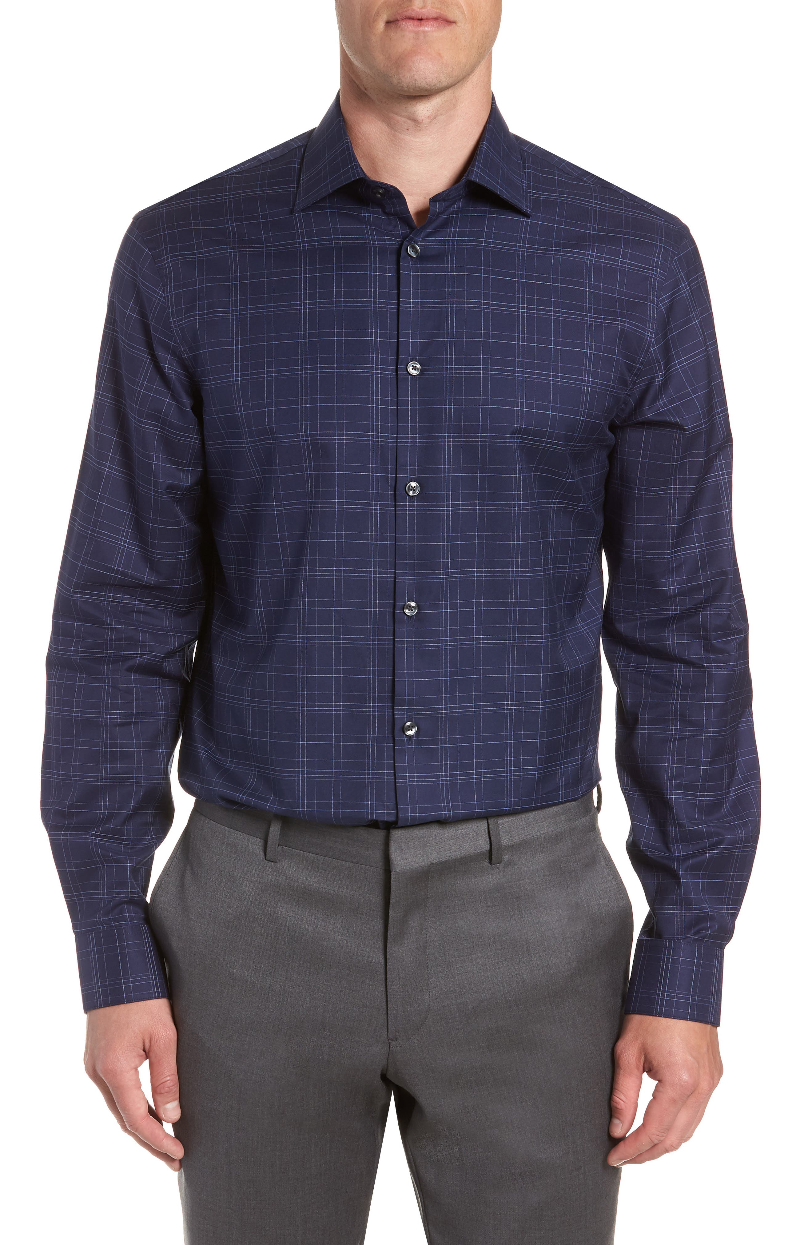 Windowpane Plaid Regular Fit Dress Shirt,                         Main,                         color, INDIGO