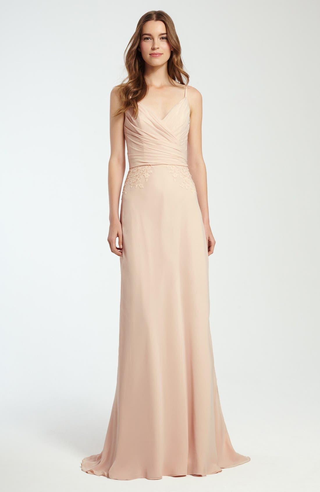 Lace Trim Chiffon Surplice Gown,                             Alternate thumbnail 3, color,                             697