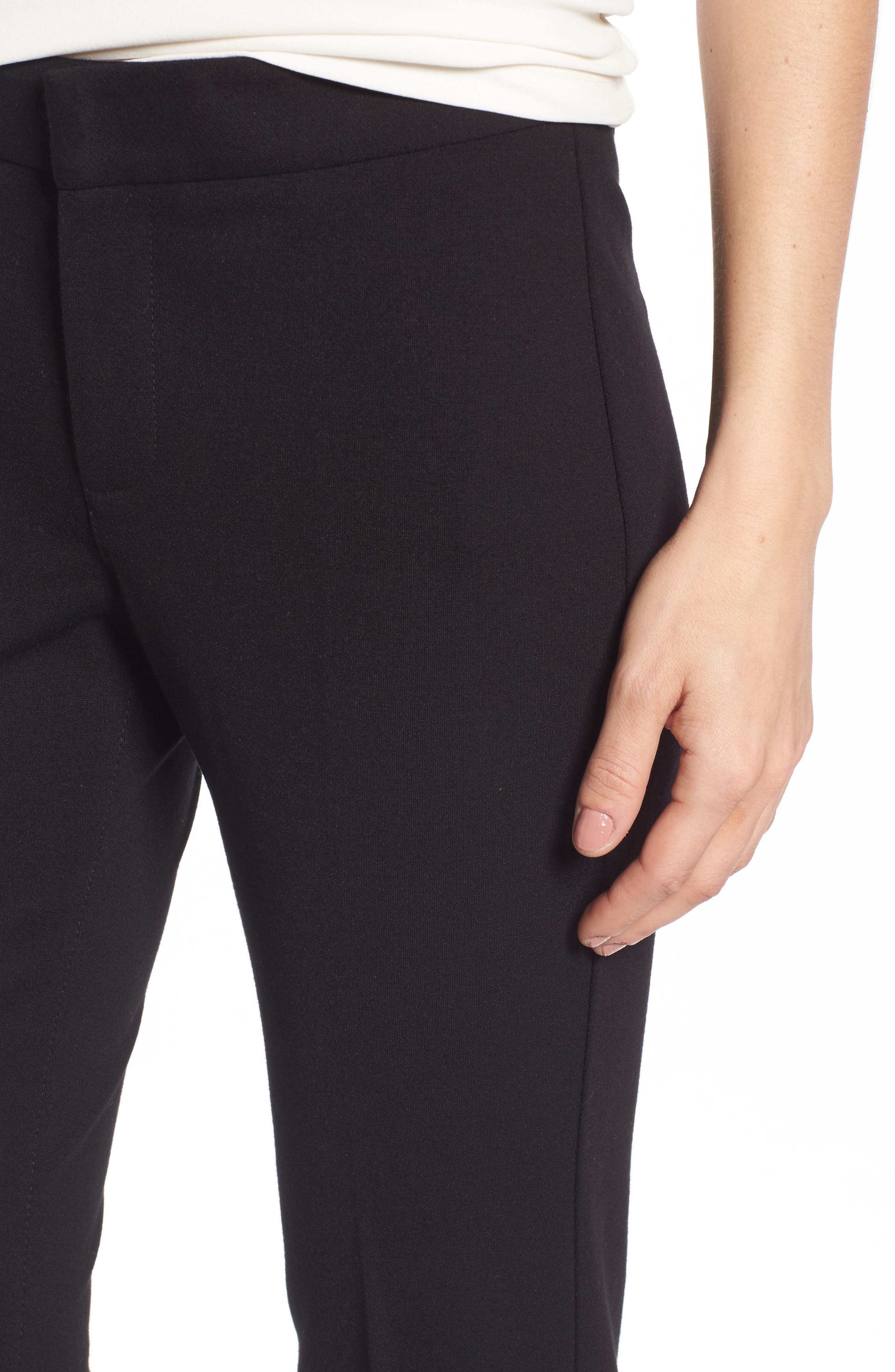 Stretch Knit Trousers,                             Alternate thumbnail 4, color,                             BLACK