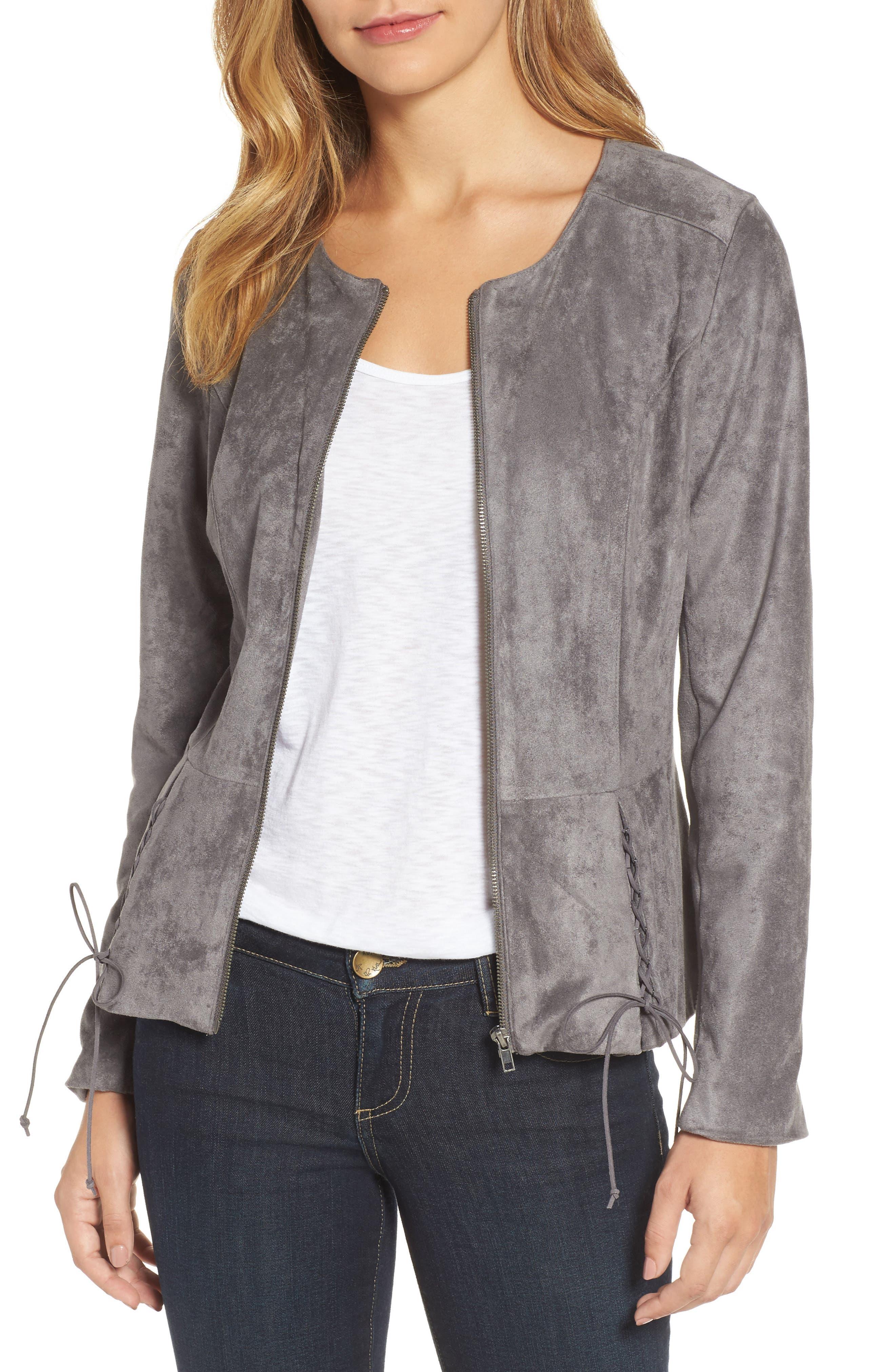 Lace-Up Peplum Faux Suede Jacket,                         Main,                         color, 024