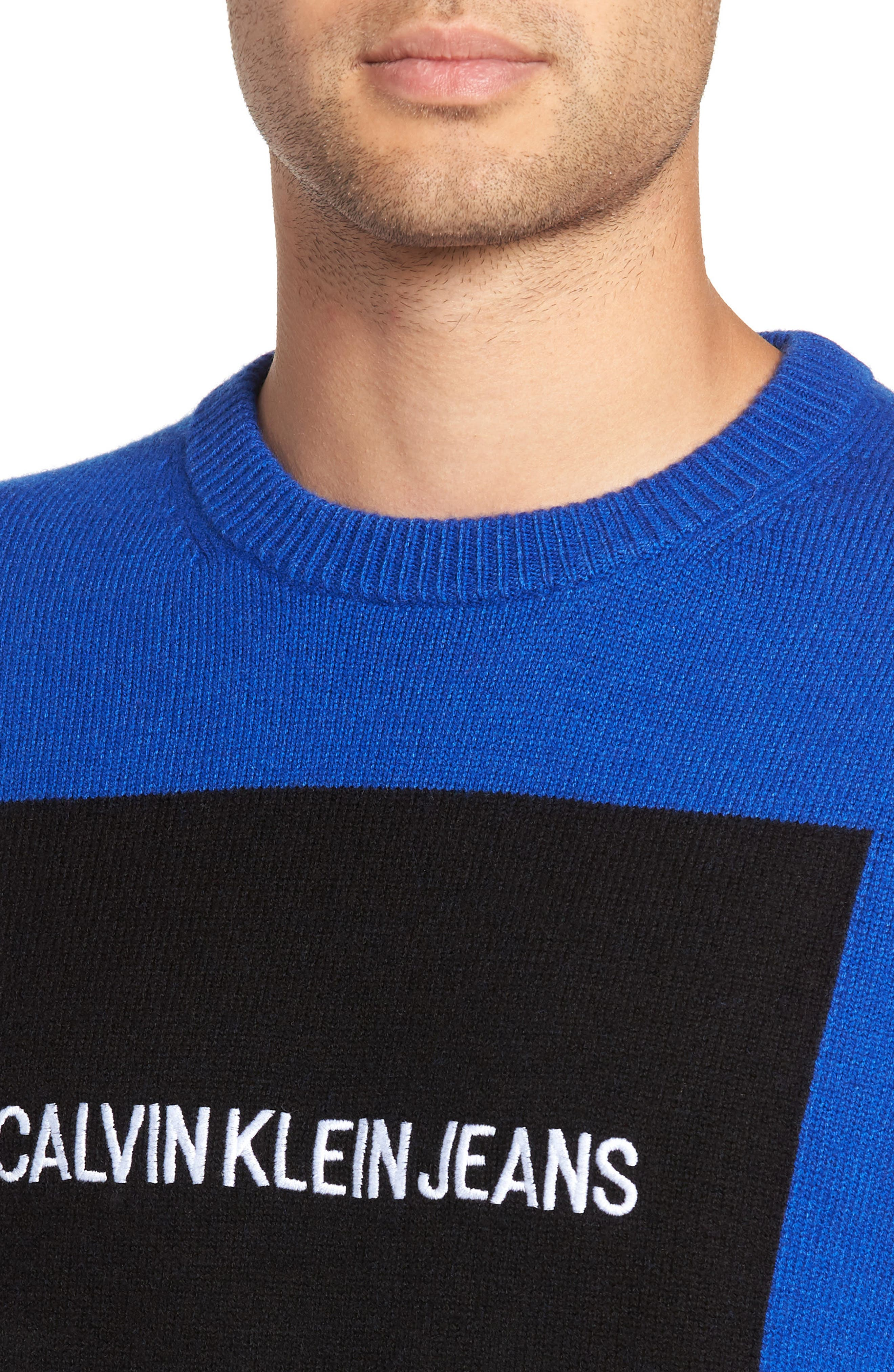 Logo Wool Sweater,                             Alternate thumbnail 4, color,                             SURF THE WEB