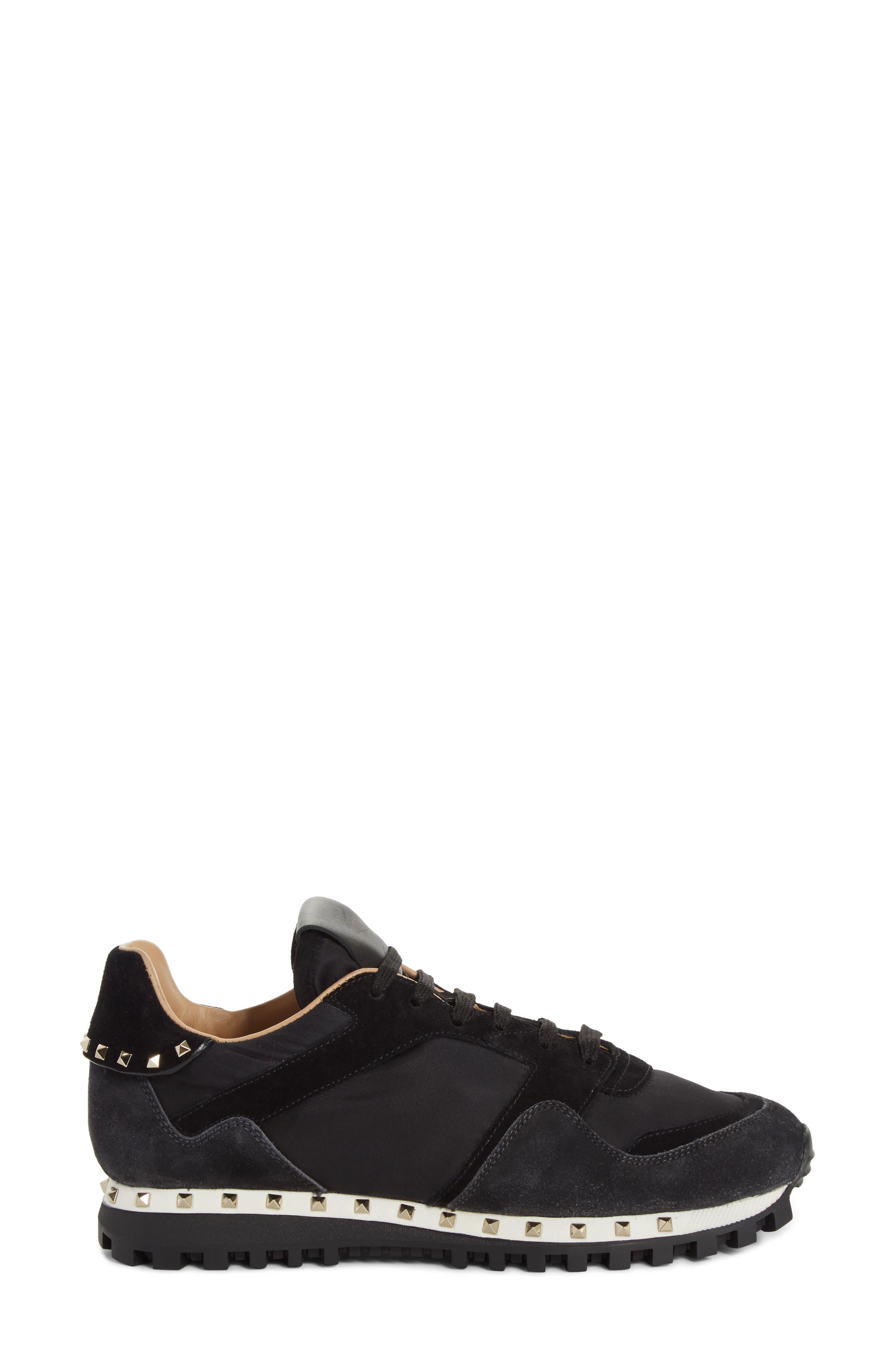 Rockstud Sneaker,                             Alternate thumbnail 3, color,                             BLACK/ GREY