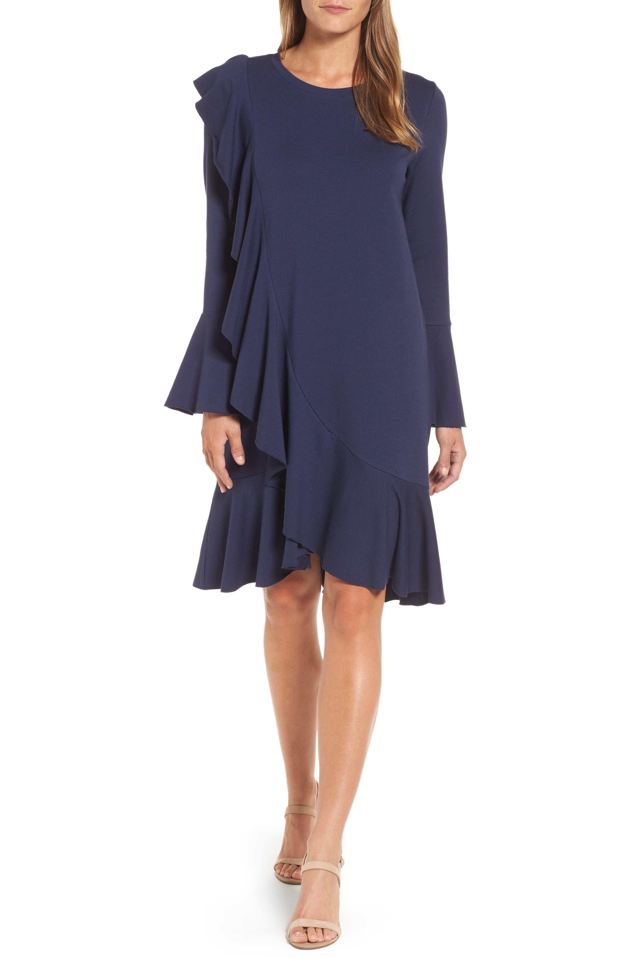 Ruffle Detail Knit Dress,                             Main thumbnail 3, color,