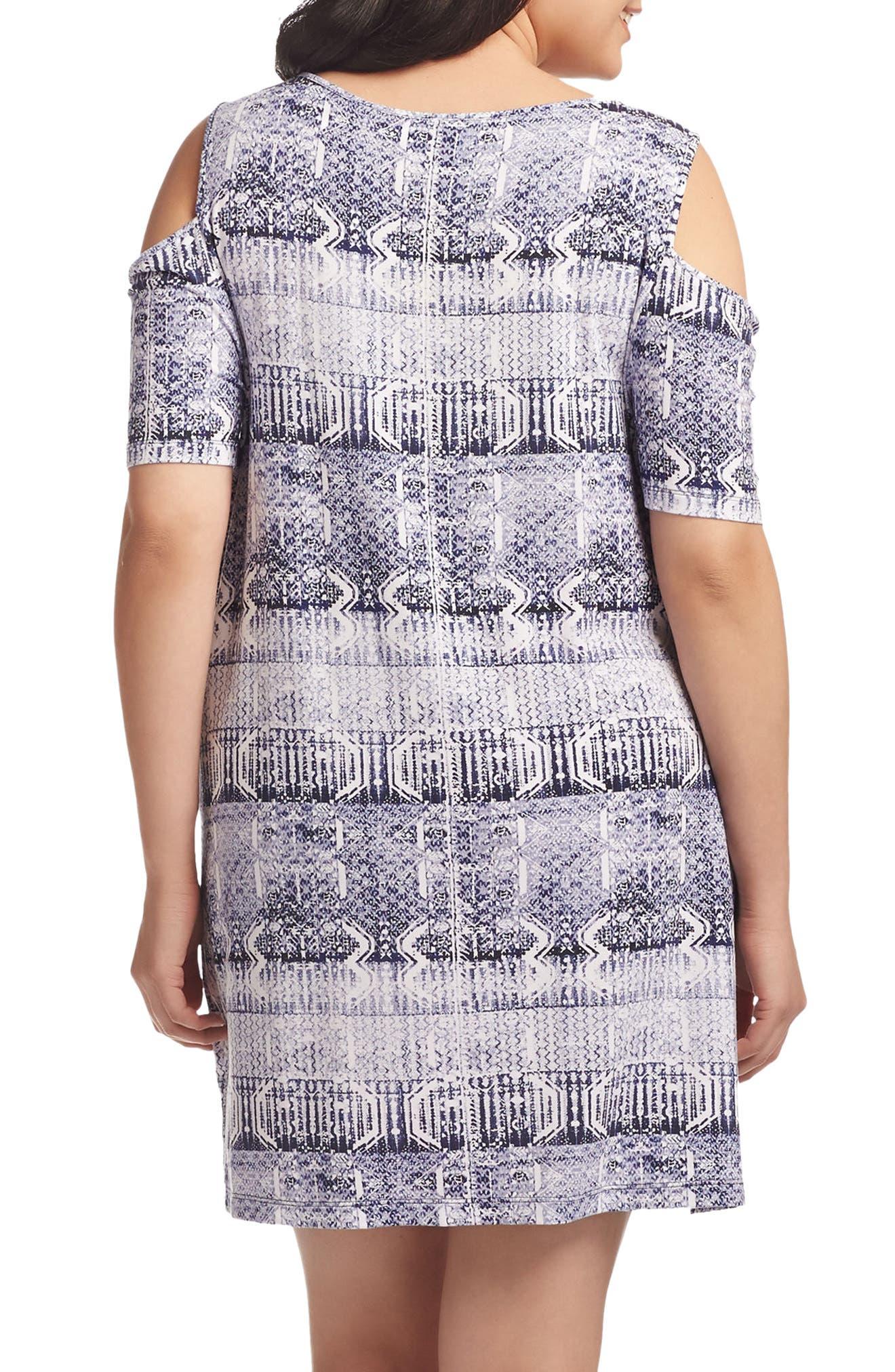 Tabitha Print Cold Shoulder Shift Dress,                             Alternate thumbnail 4, color,