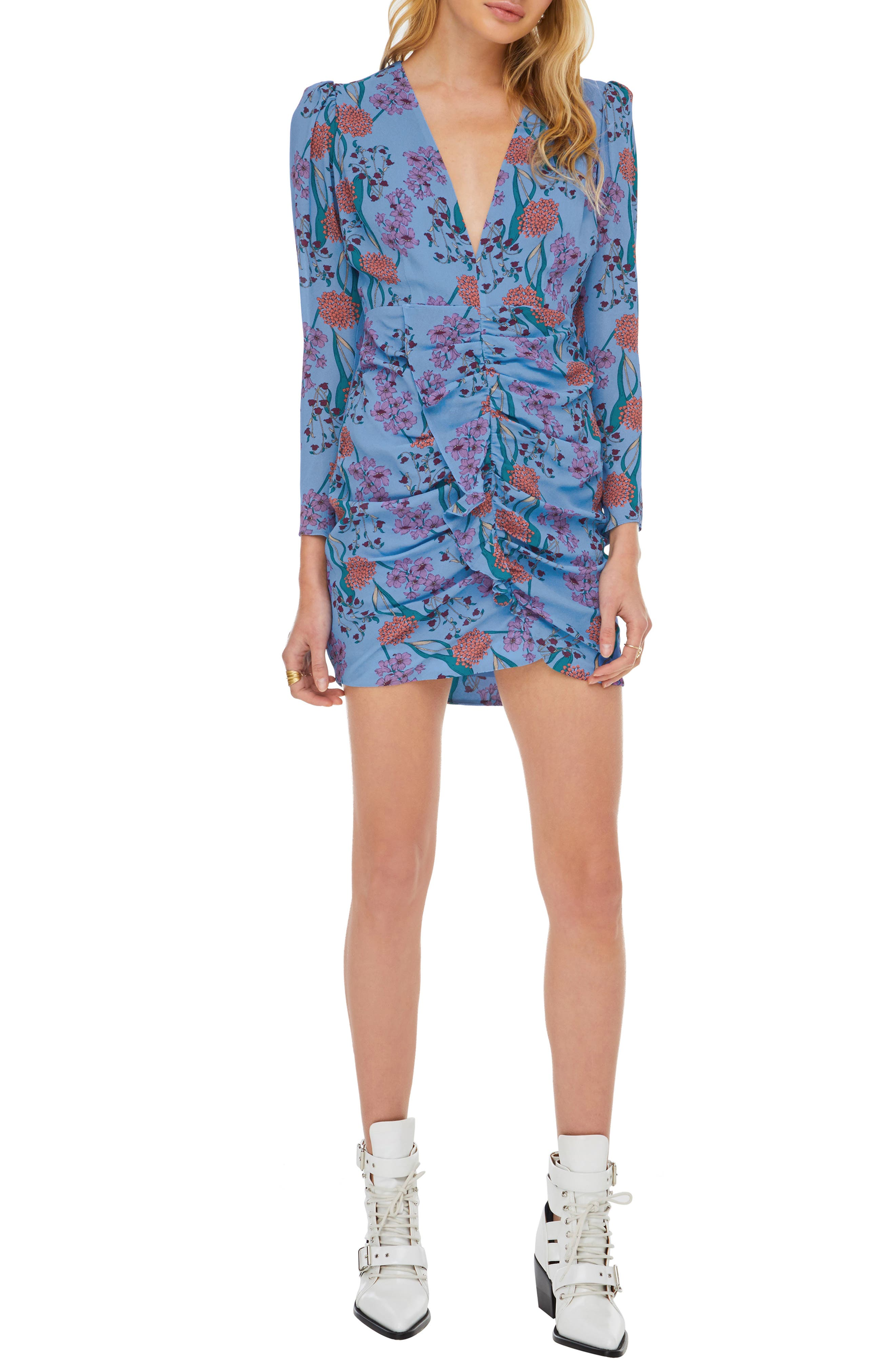 Astr The Label Vignette Floral Print Dress, Blue