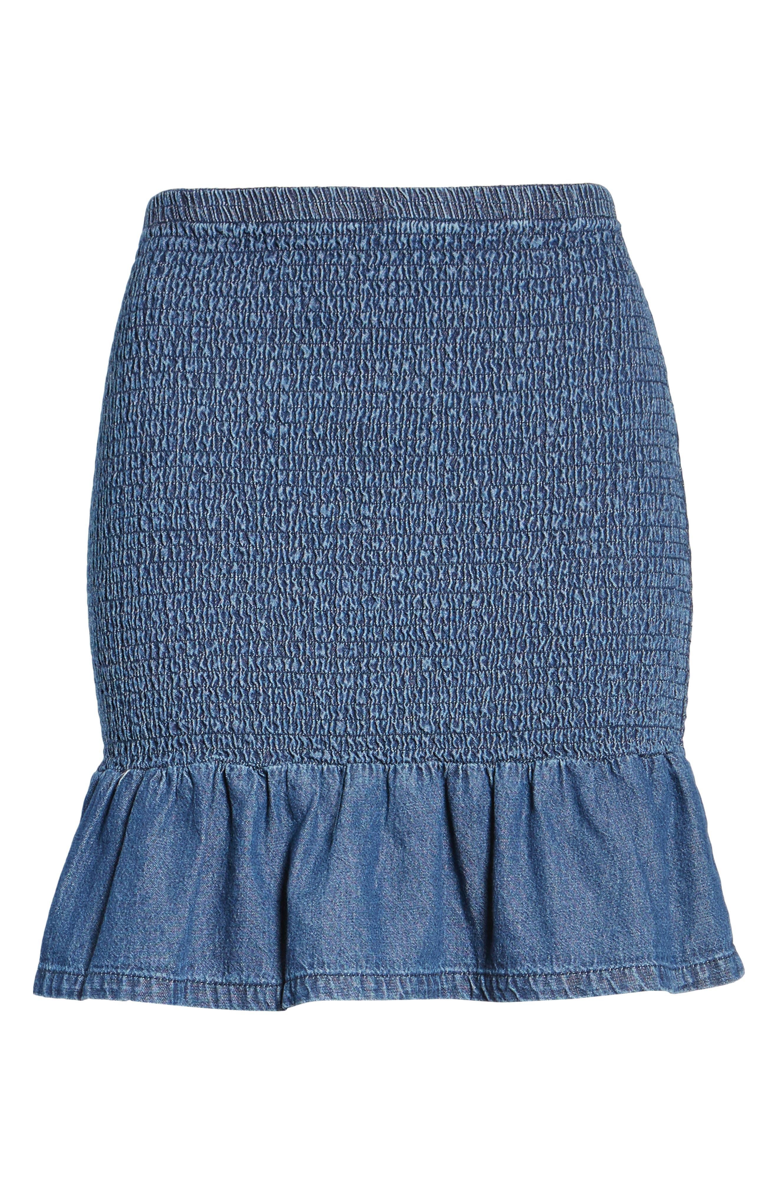 Sentiment Smocked Denim Skirt,                             Alternate thumbnail 6, color,                             412