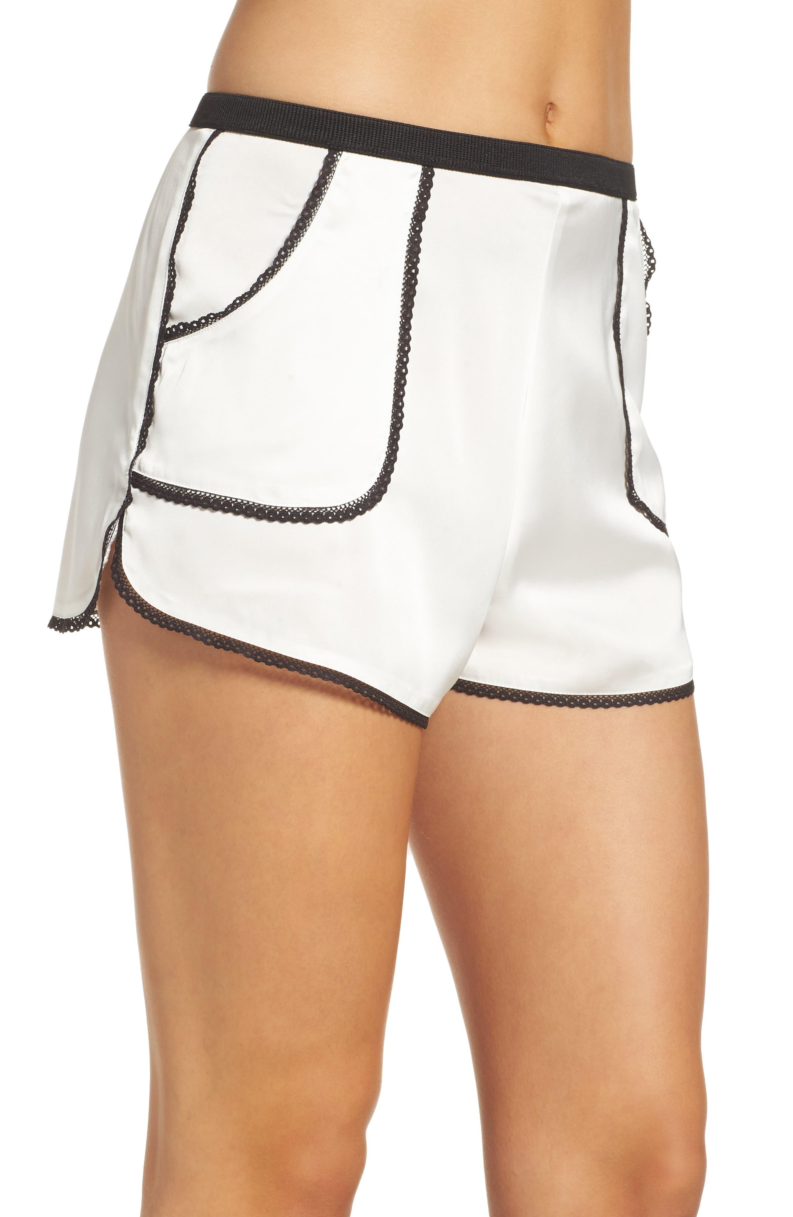 Thistle & Spire Devoe Satin Pajama Shorts,                             Alternate thumbnail 3, color,                             900