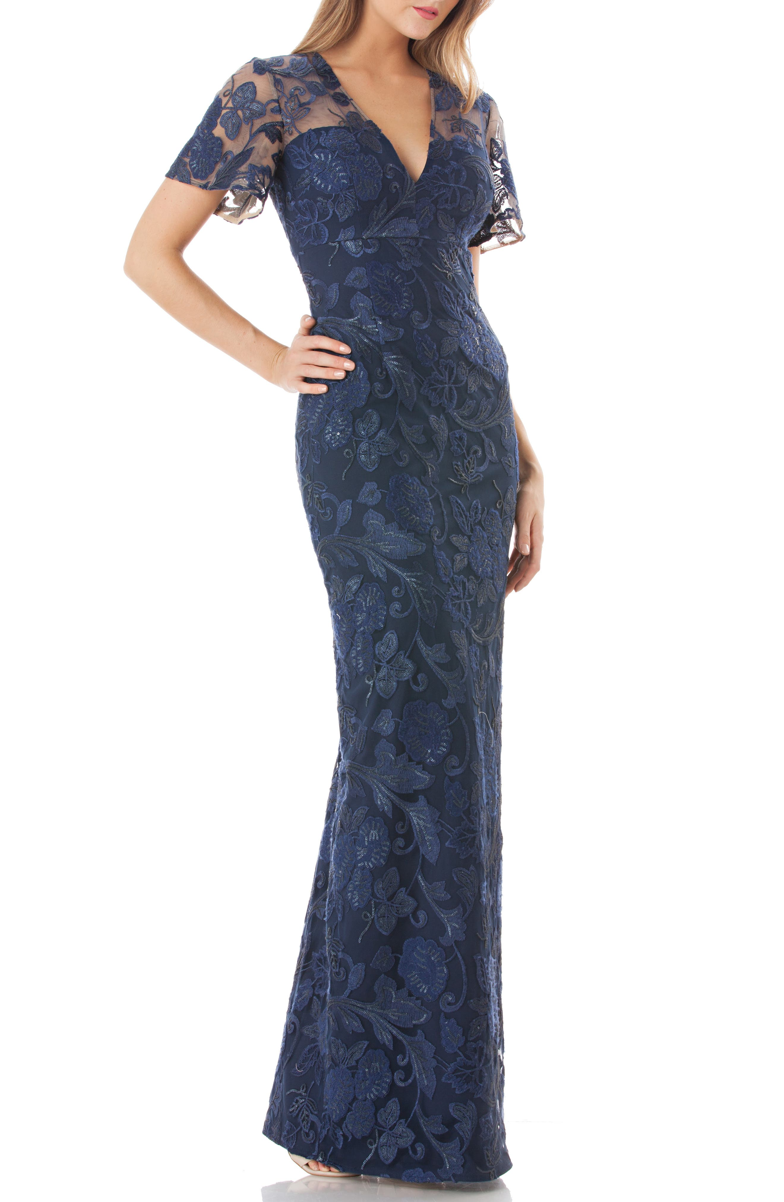 Carmen Marc Valvo Infusion Sequin Embroidered Gown, Blue