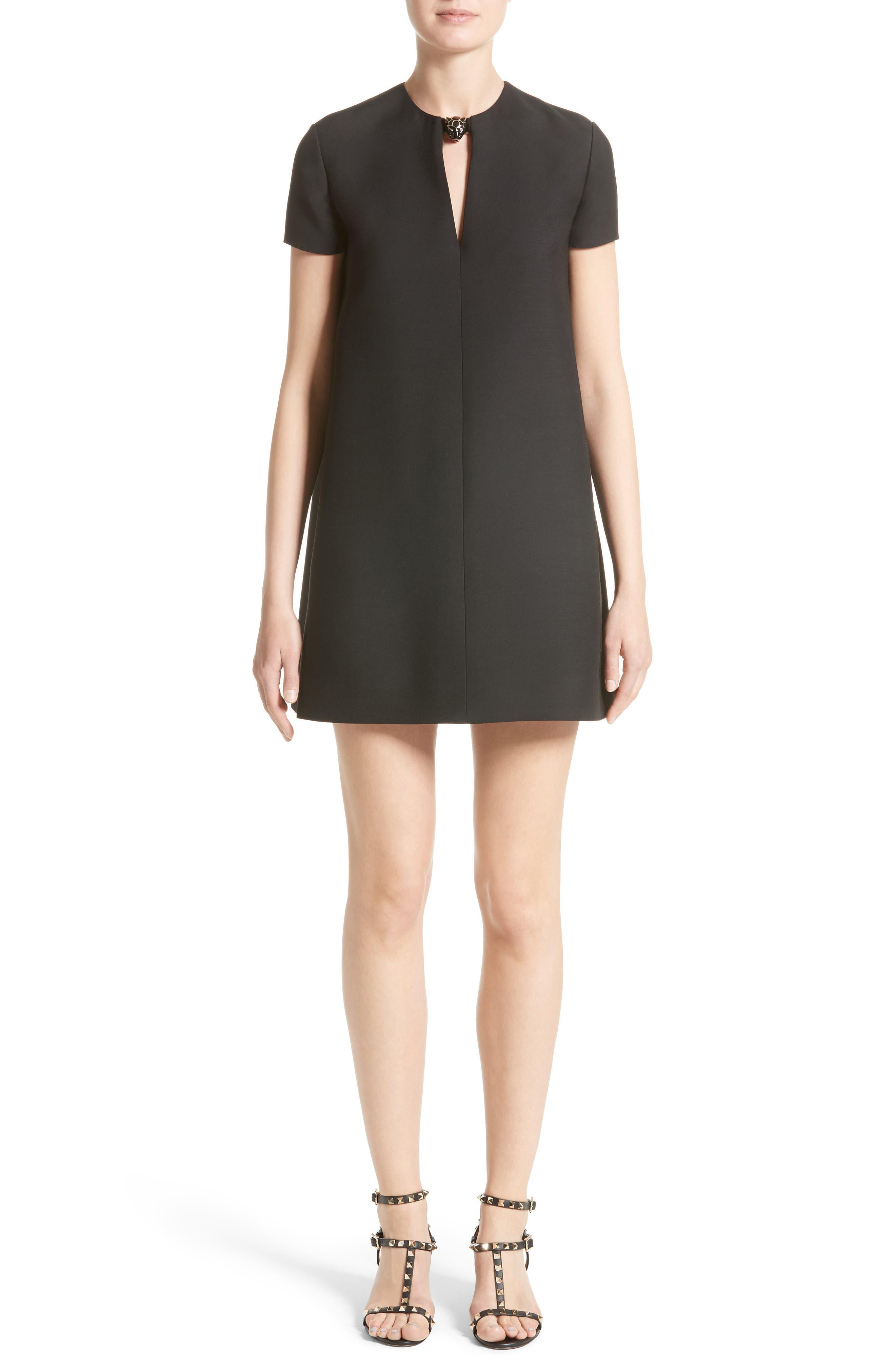 Wool & Silk Crepe Shift Dress,                         Main,                         color, 001