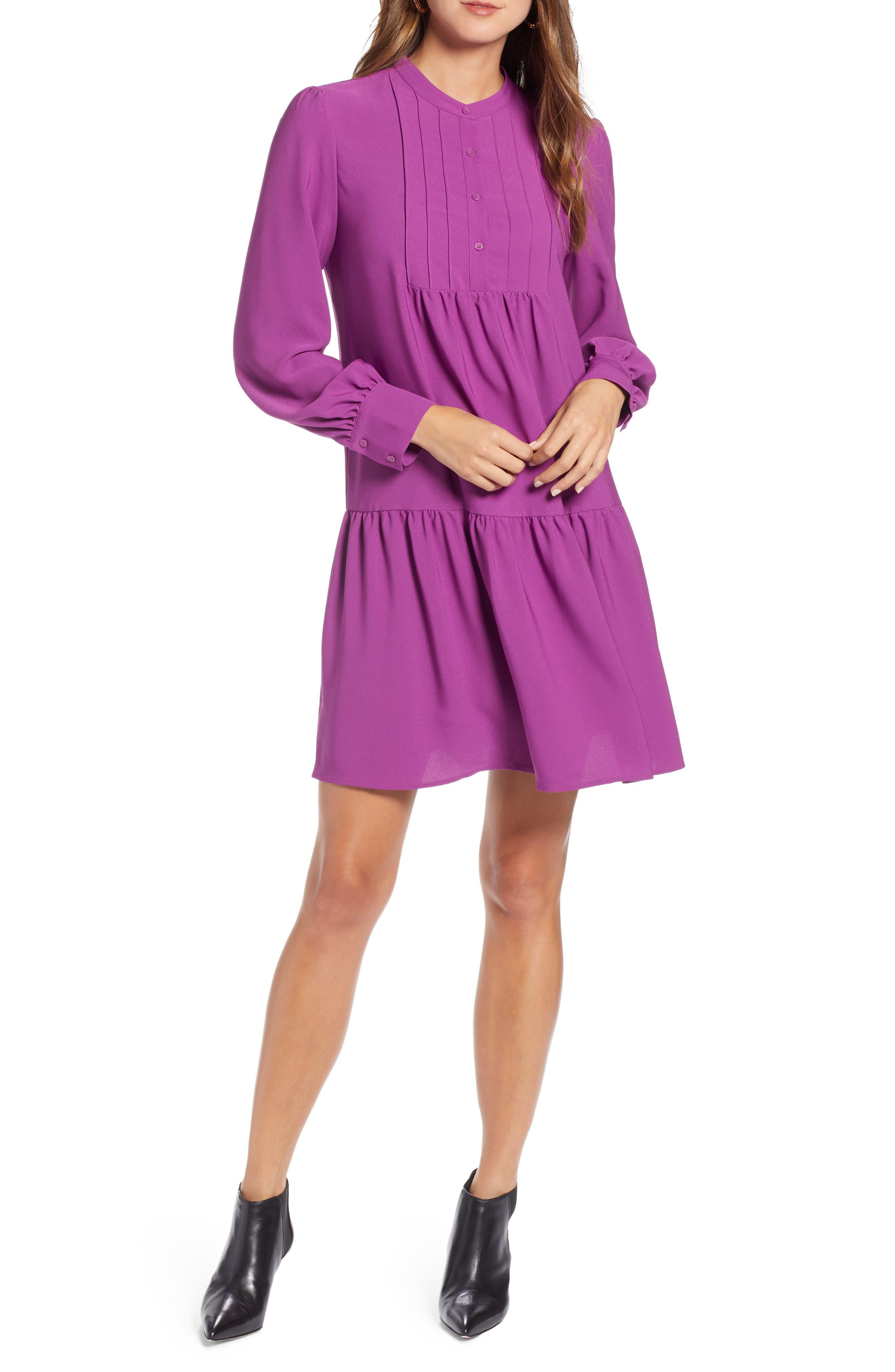 Halogen Pintuck Detail Shift Dress, Purple