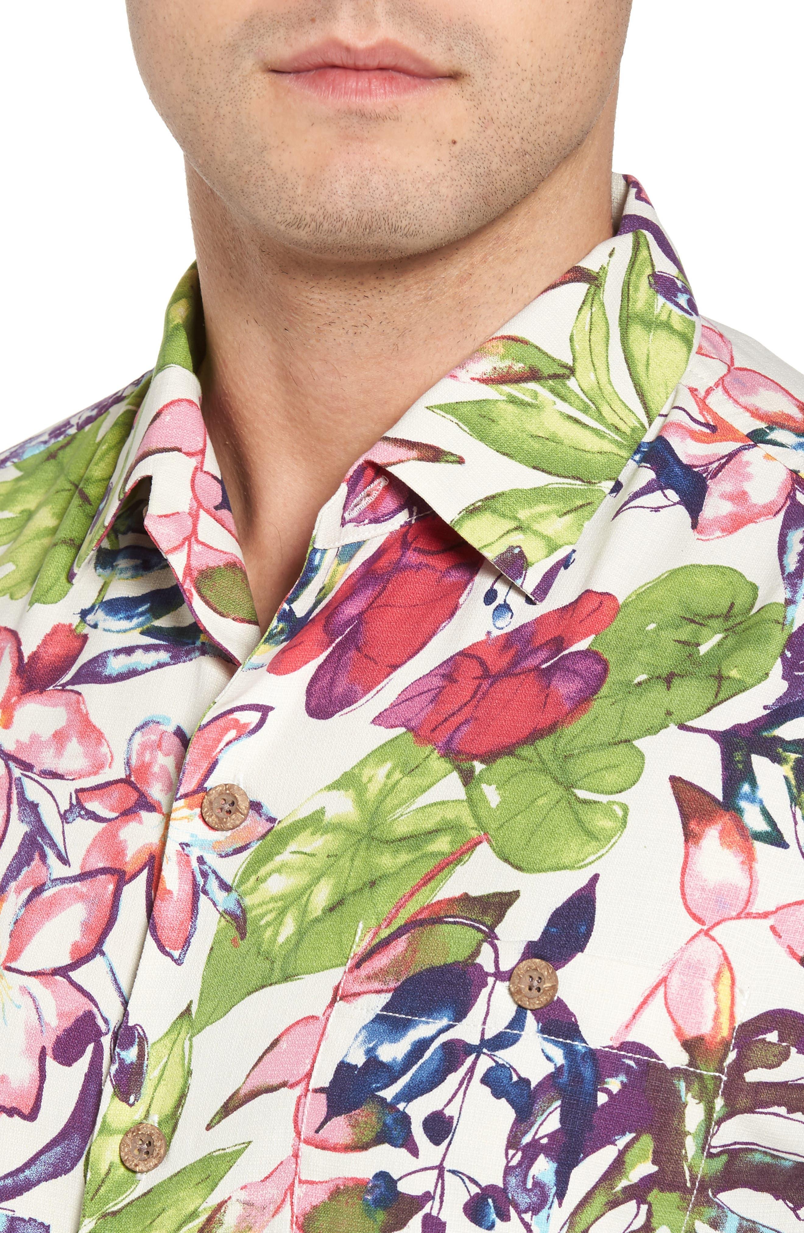 Riviera Garden Standard Fit Silk Blend Camp Shirt,                             Alternate thumbnail 4, color,                             100