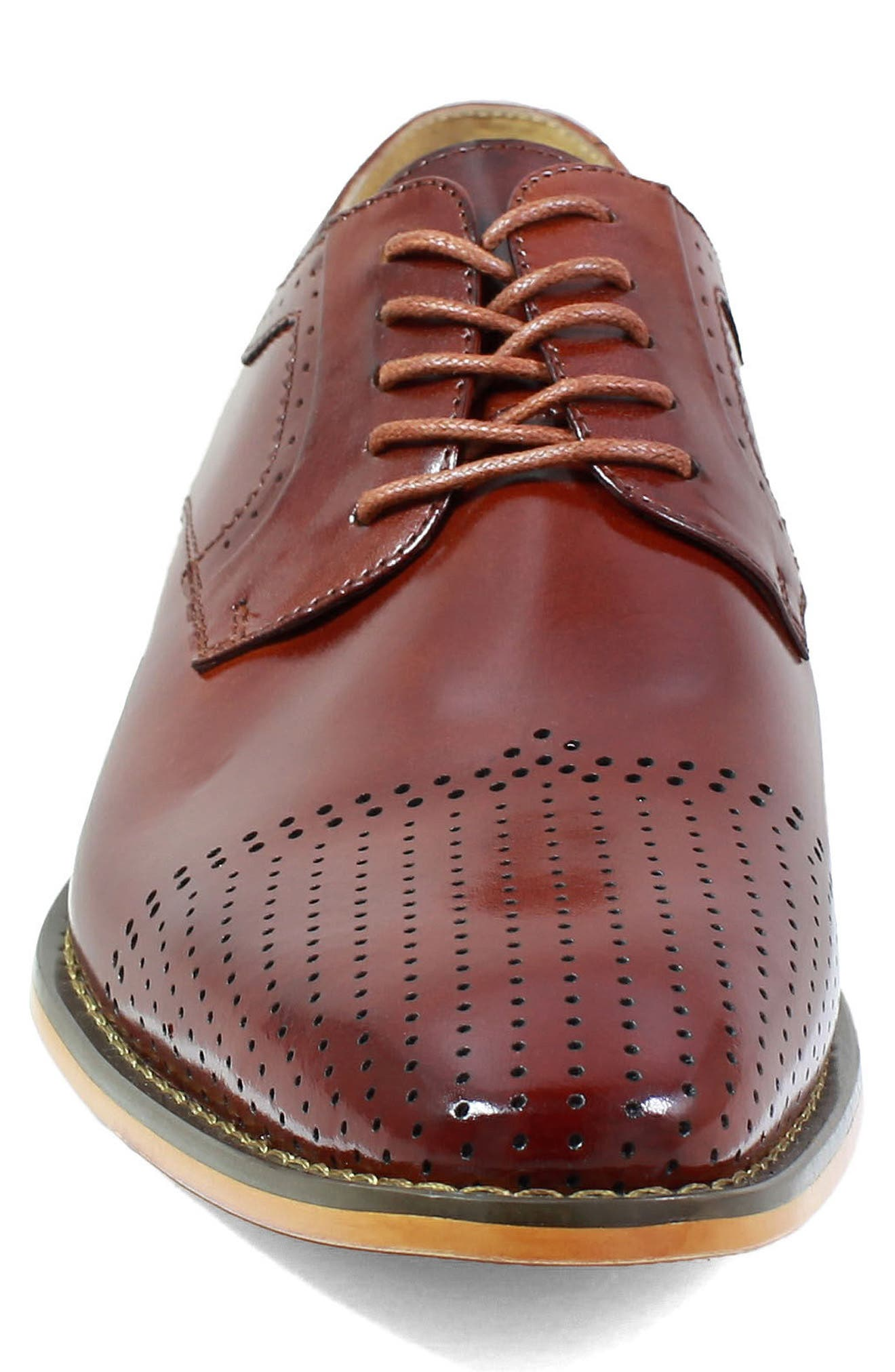Sanborn Perforated Cap Toe Derby,                             Alternate thumbnail 4, color,                             COGNAC LEATHER