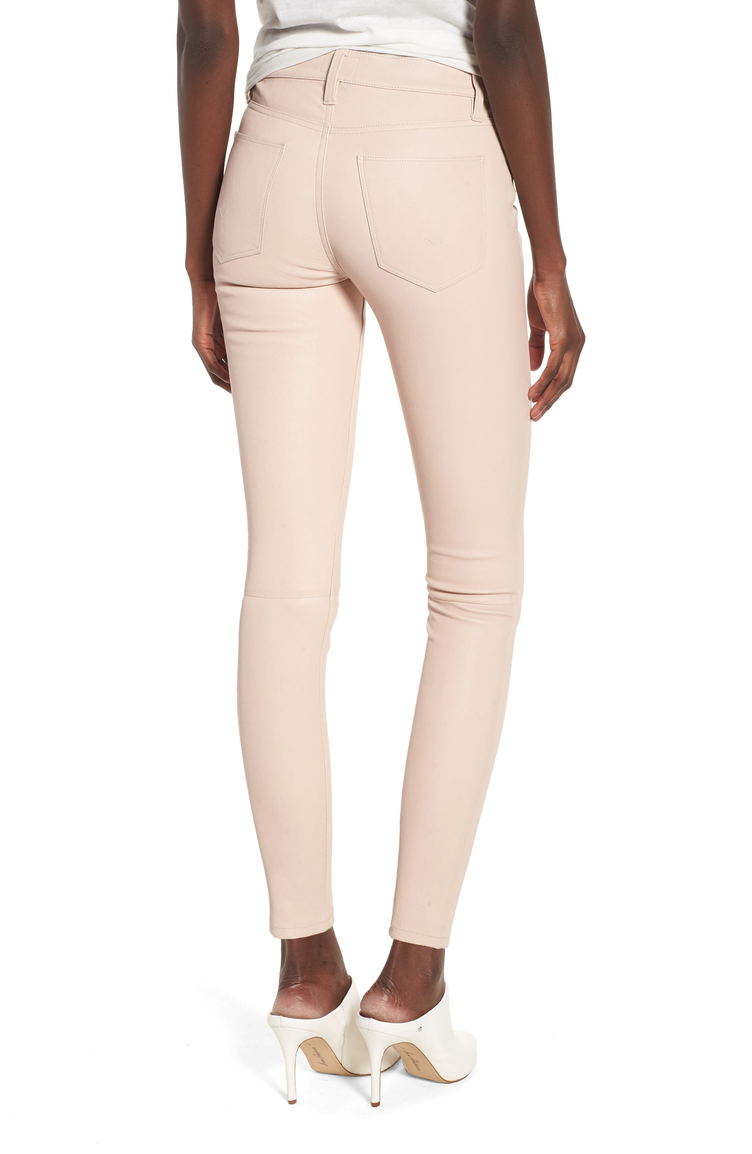 Barbara High Waist Ankle Skinny Leather Jeans,                             Alternate thumbnail 2, color,                             BLUSHING