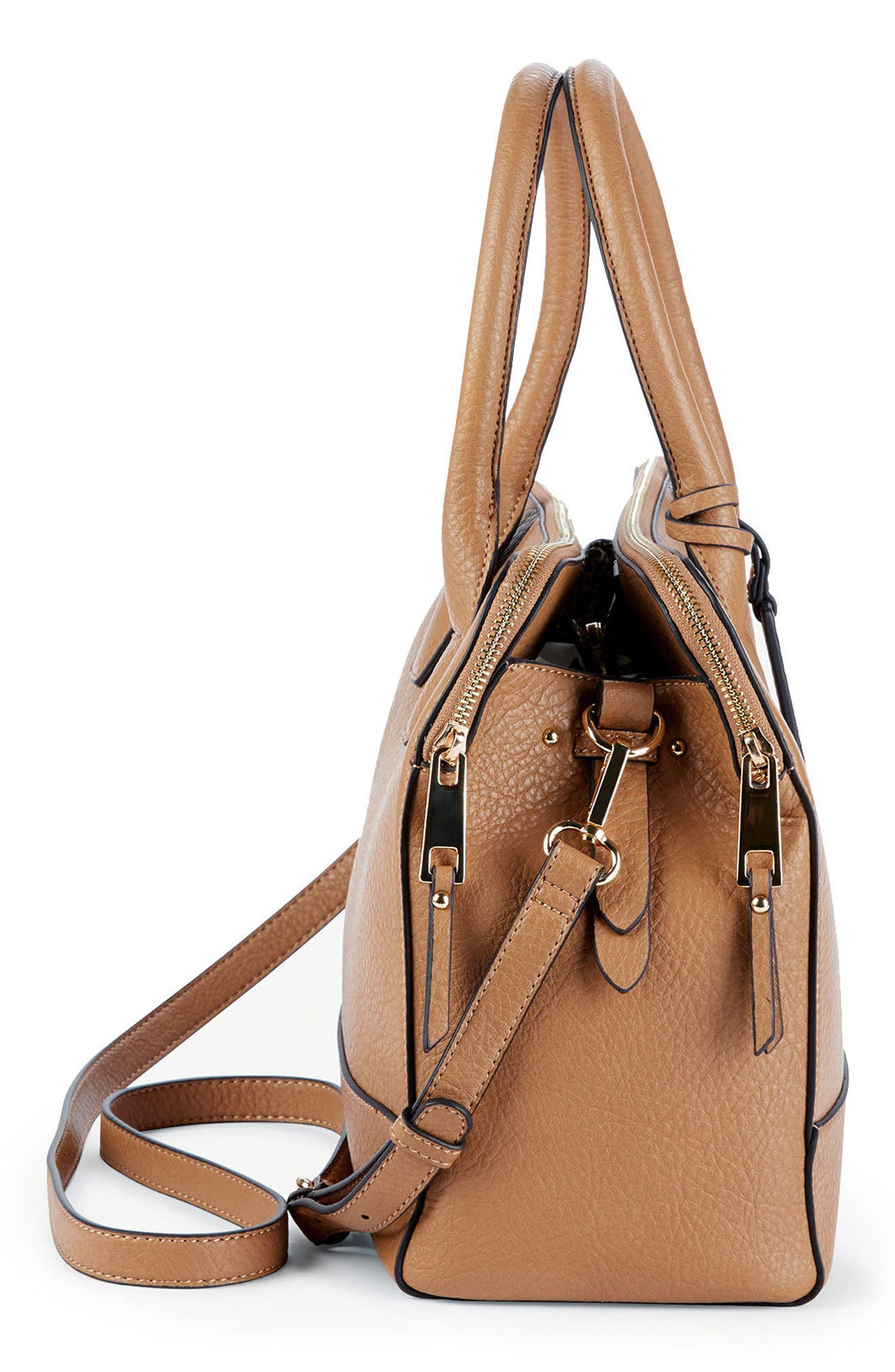 Nera Faux Leather Satchel,                             Alternate thumbnail 4, color,                             230