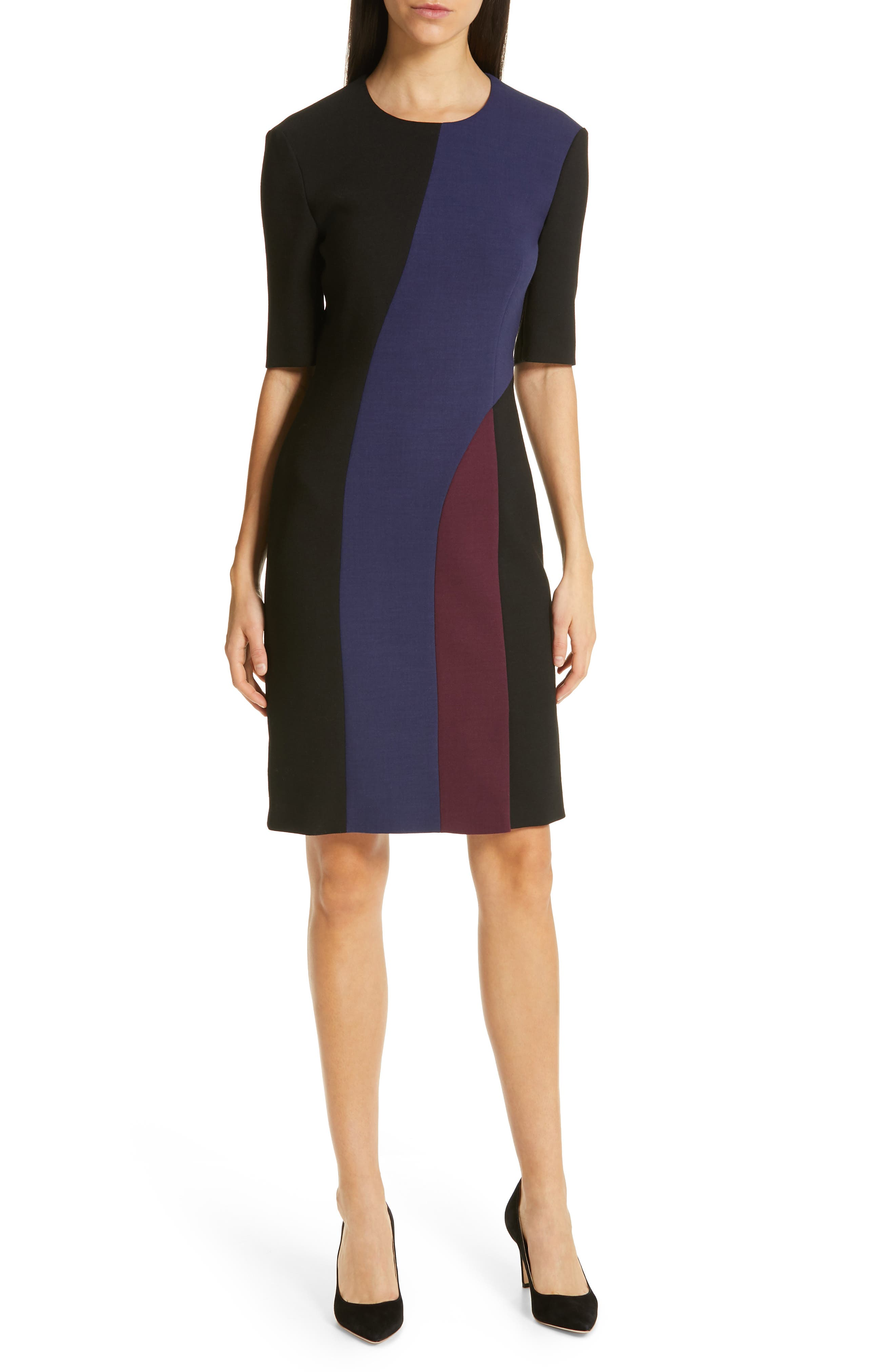 Boss Delivia Colorblock Sheath Dress, Black