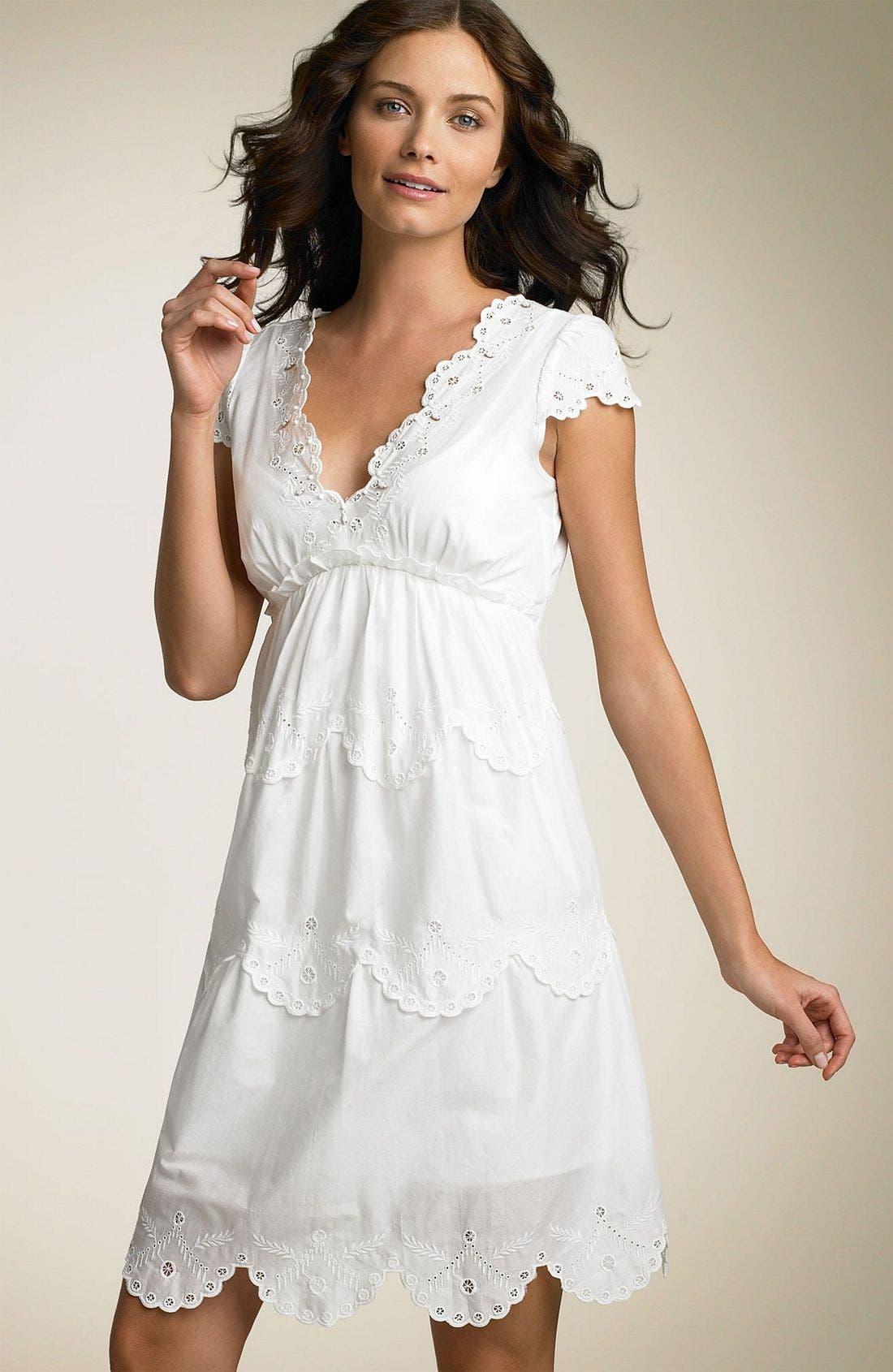 BCBGMAXAZRIA,                             Cotton Voile Tier Babydoll Dress,                             Main thumbnail 1, color,                             OWH