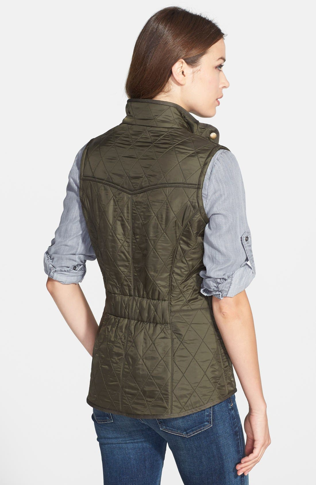 'Cavalry' Quilted Vest,                             Alternate thumbnail 8, color,                             OLIVE/ OLIVE