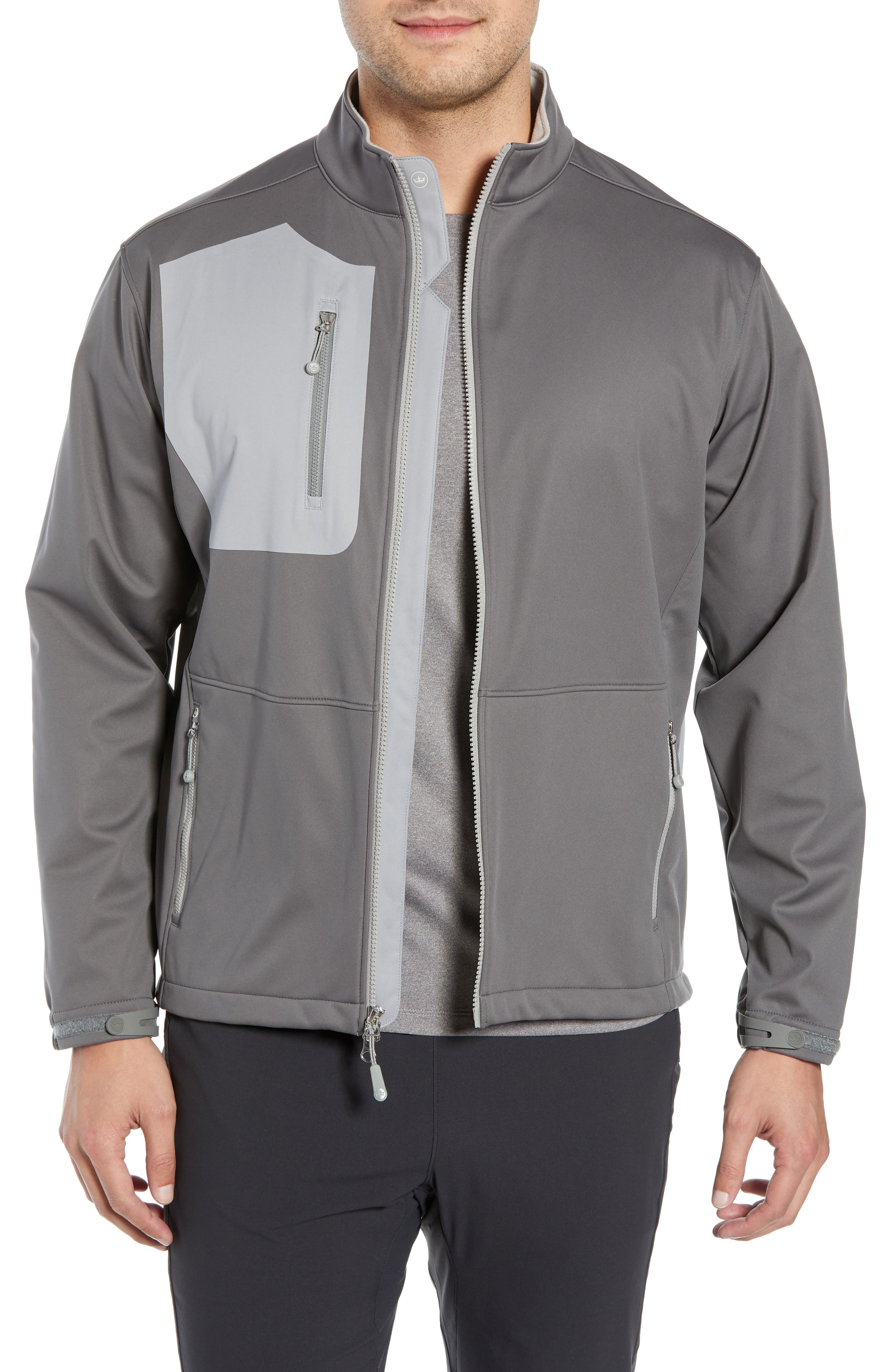 PETER MILLAR Gale Force Stretch Soft Shell Jacket, Main, color, SMOKE