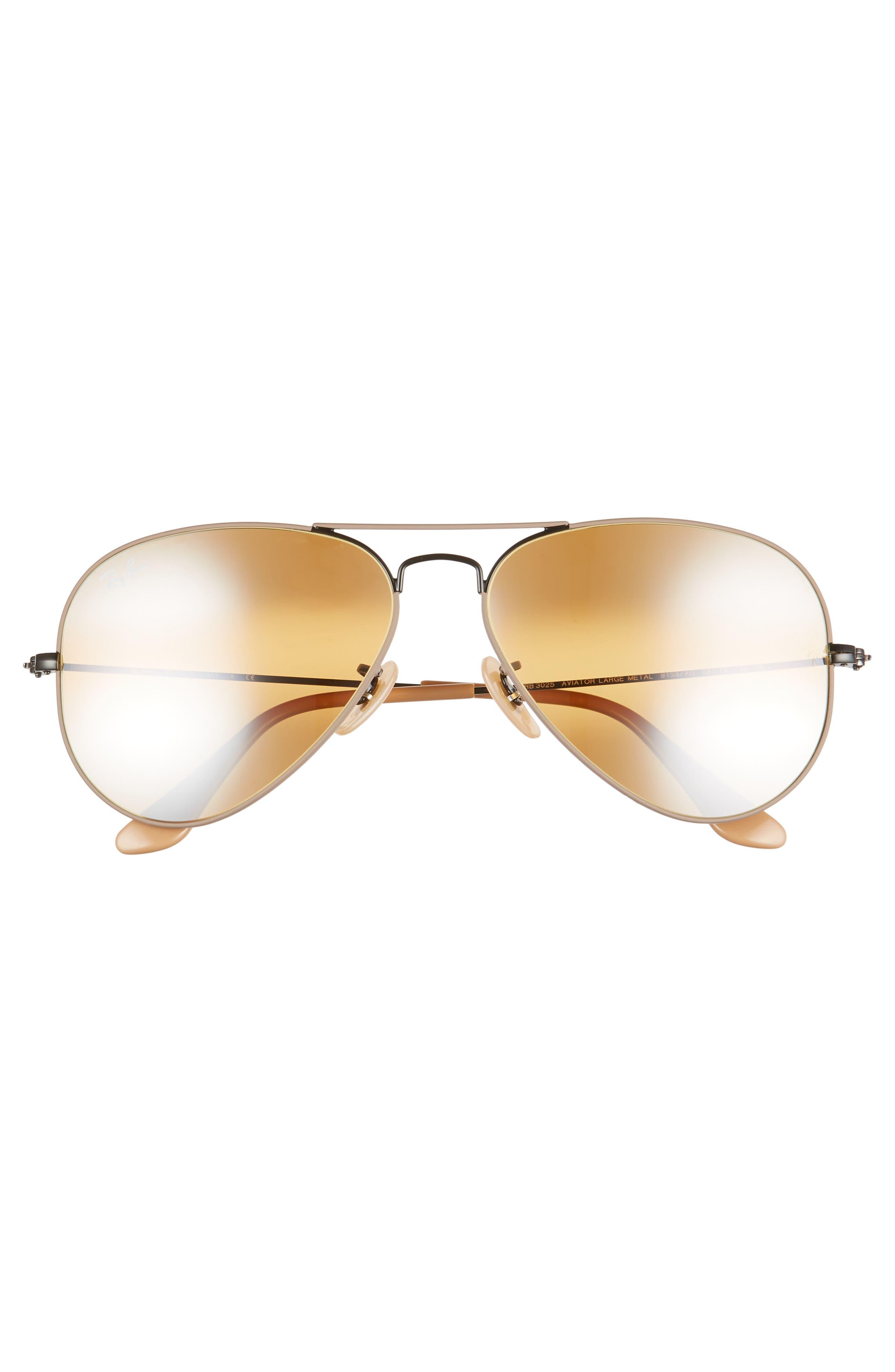 RAY-BAN,                             Standard Original 58mm Aviator Sunglasses,                             Alternate thumbnail 3, color,                             BEIGE/ BLACK MIRROR