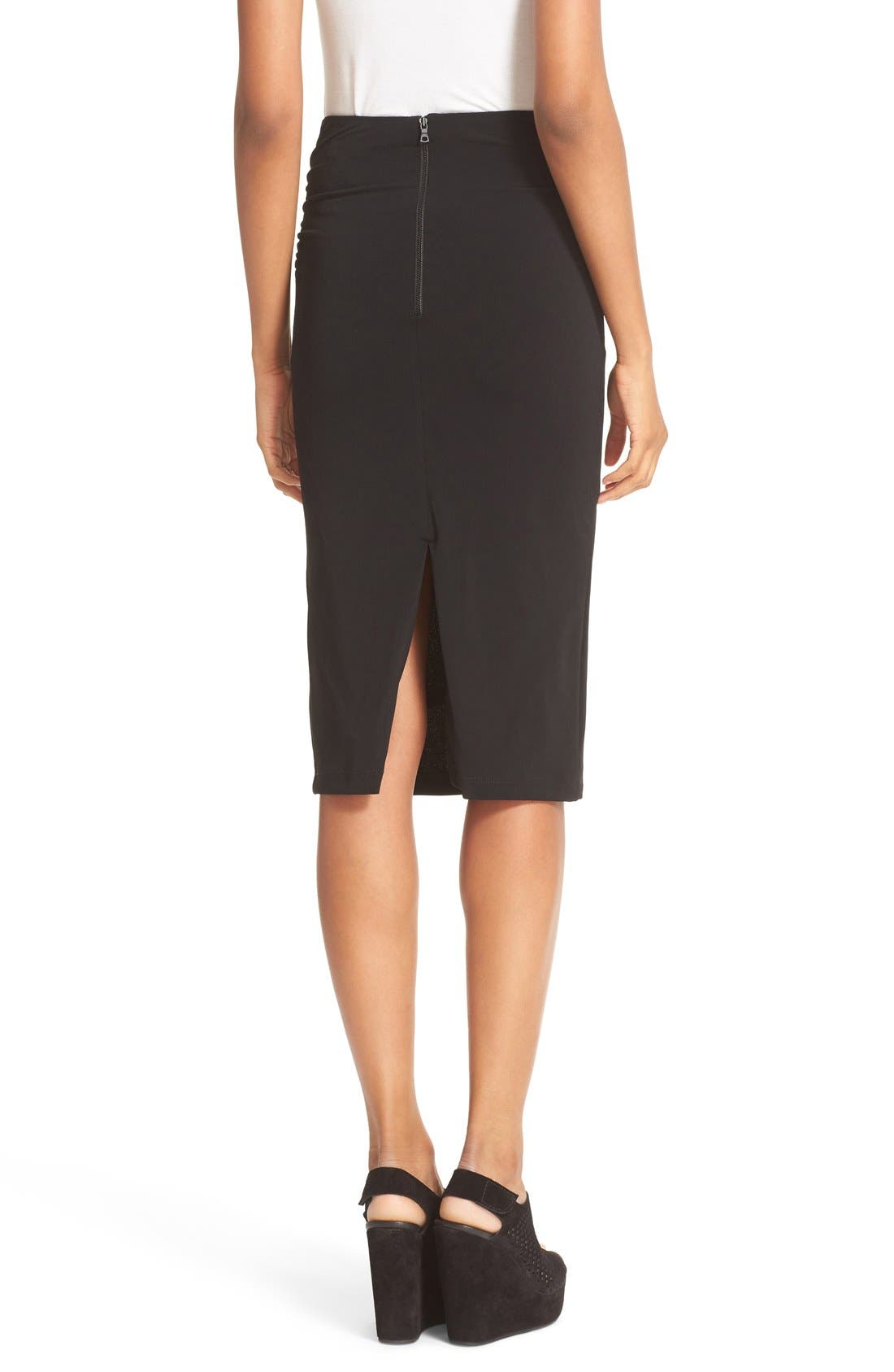 ALICE + OLIVIA,                             Ciera Side Ruched High Waist Pencil Skirt,                             Alternate thumbnail 3, color,                             001
