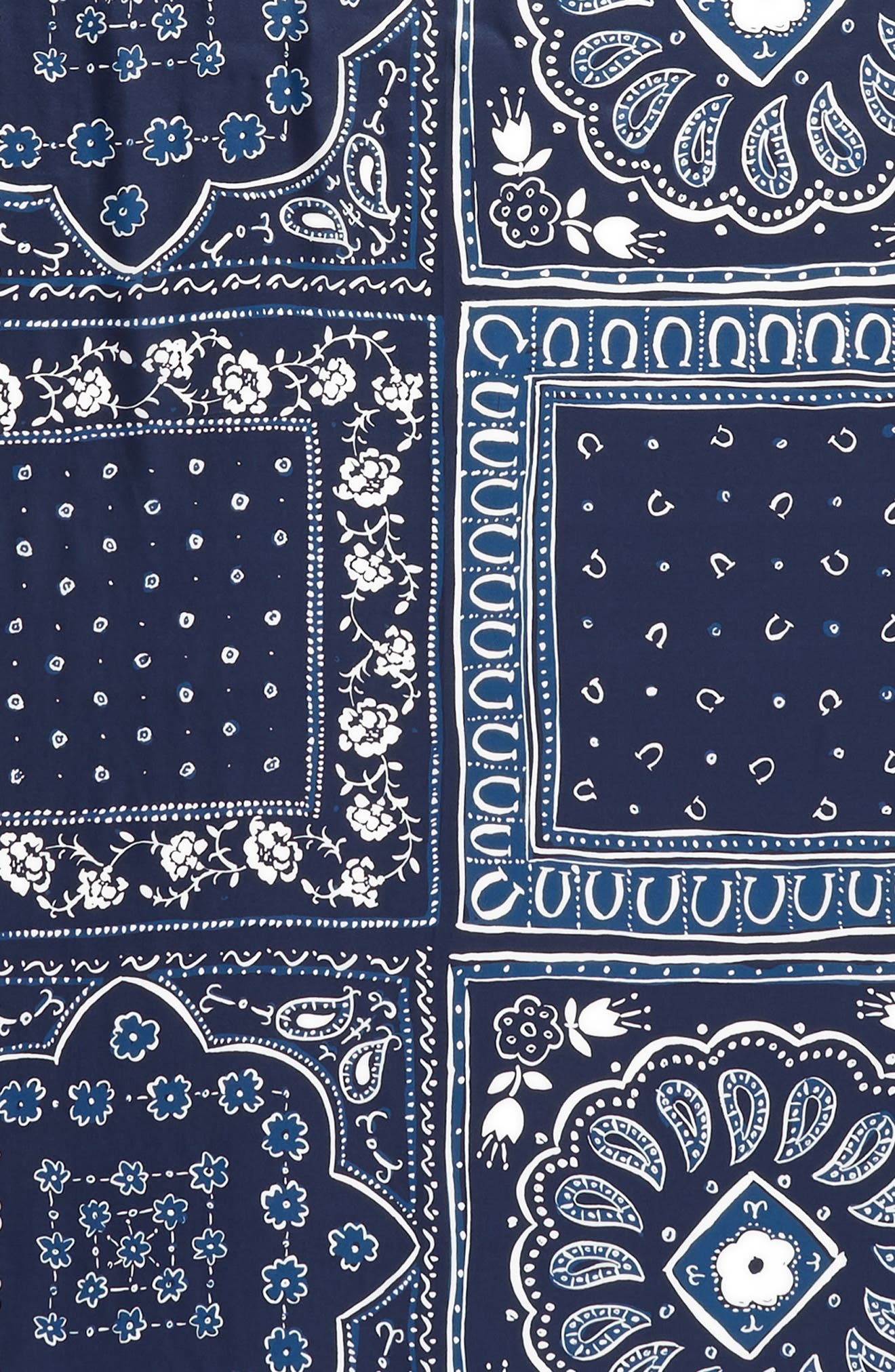 bandana silk oblong scarf,                             Alternate thumbnail 4, color,                             VOYAGE BLUE