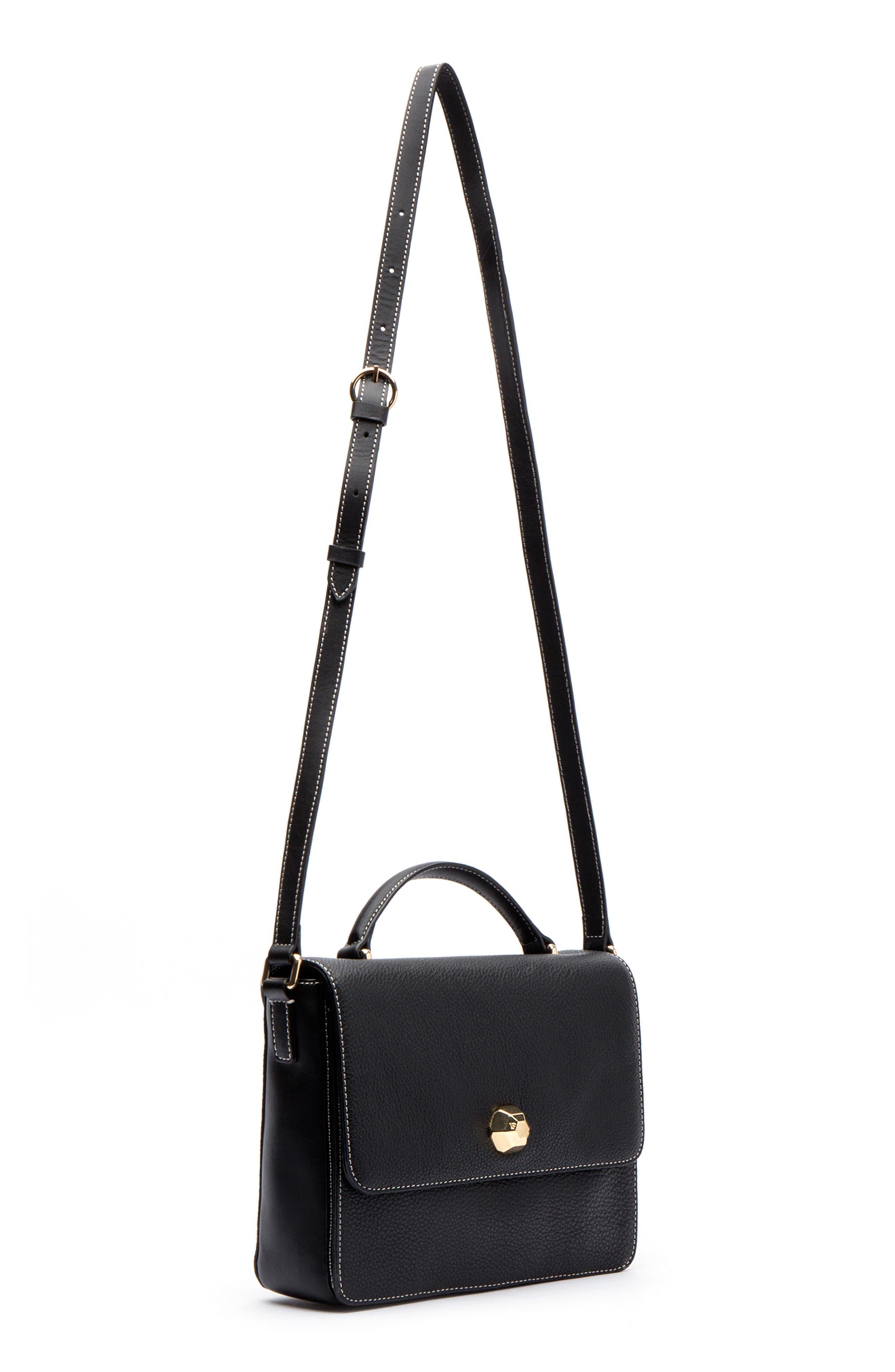 Midge Leather Crossbody Bag,                             Alternate thumbnail 4, color,                             001