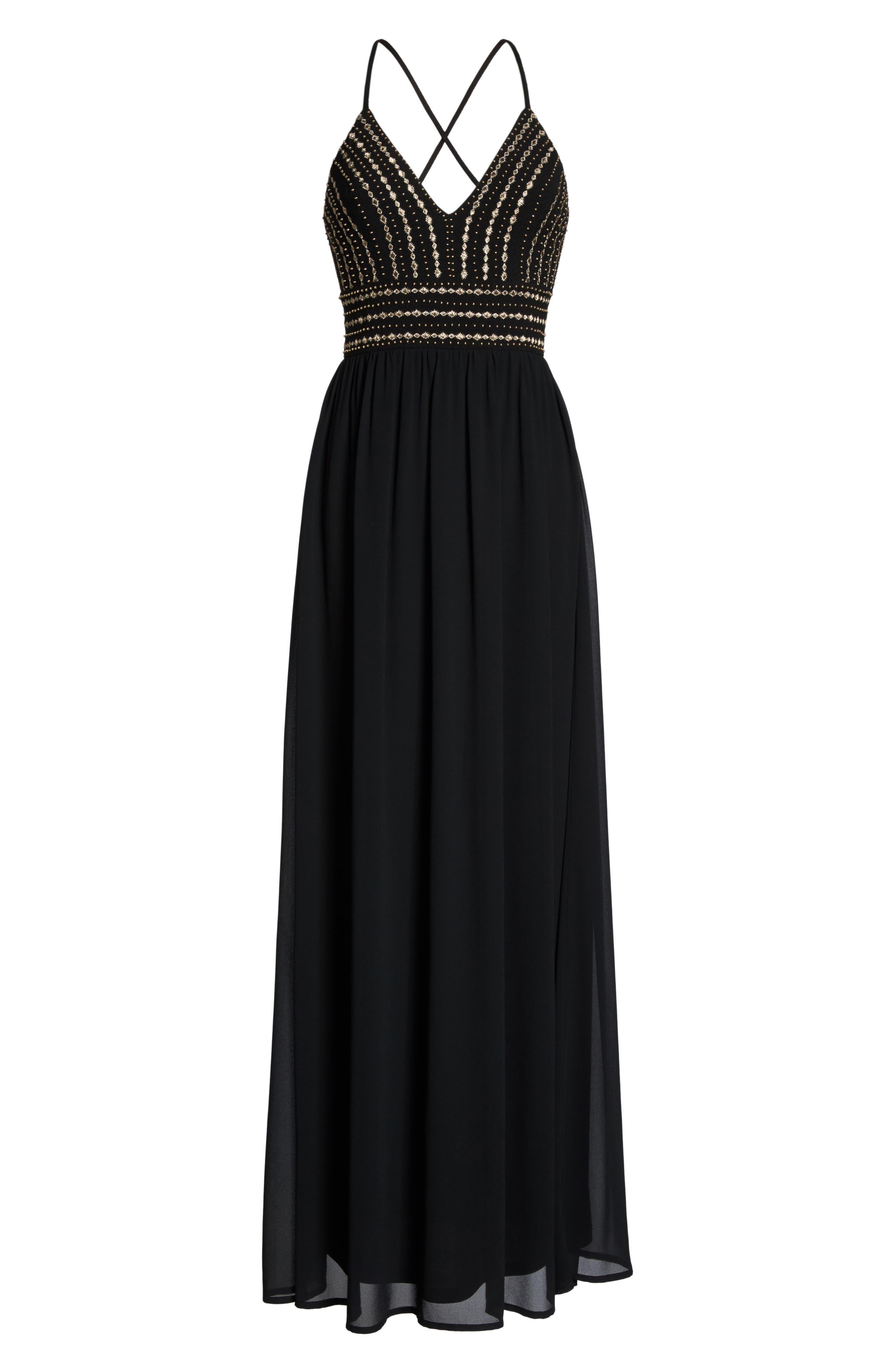 Glamorous Gala Embellished Maxi Dress,                             Alternate thumbnail 7, color,                             BLACK