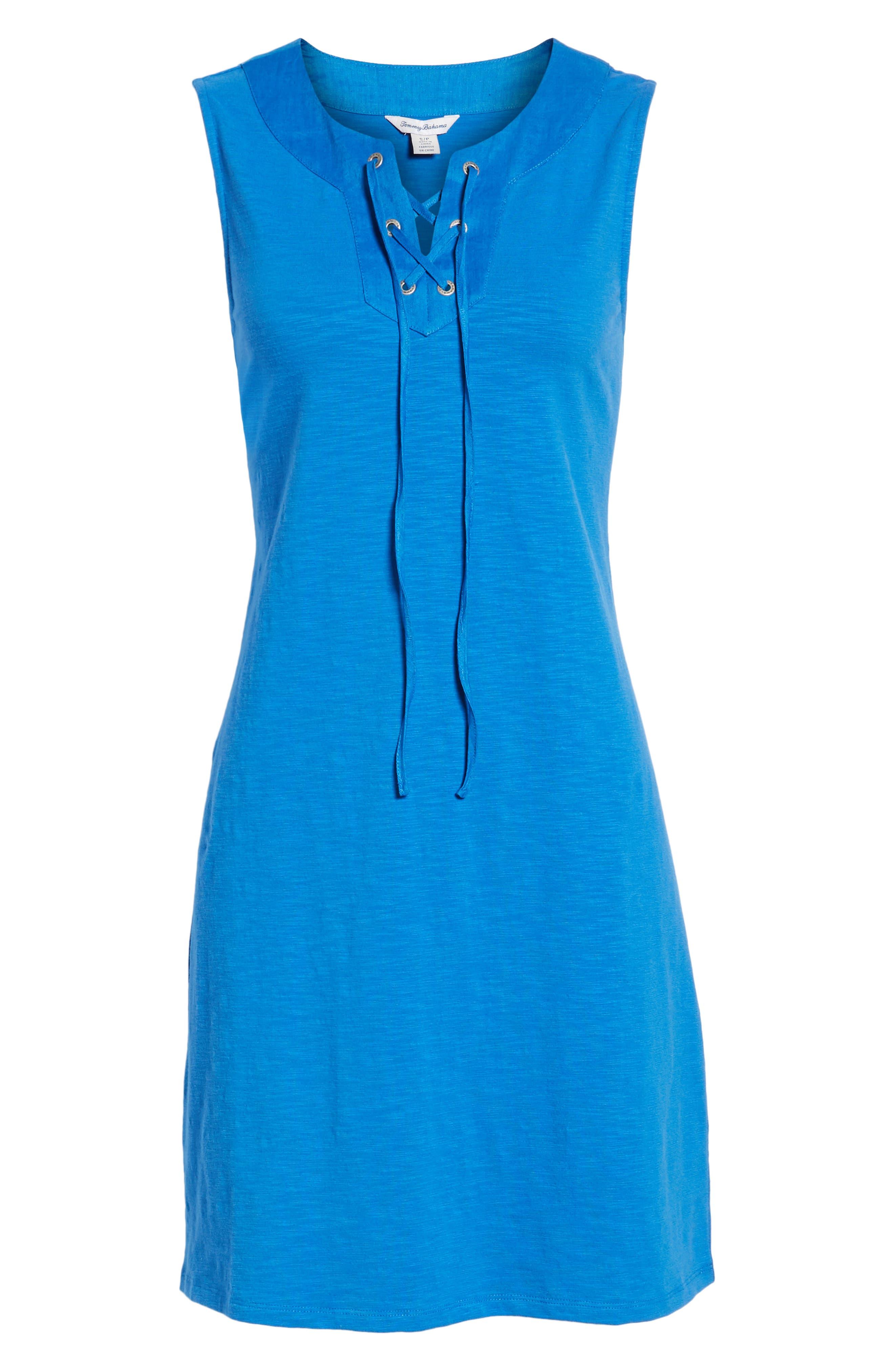 Lace-Up Shift Dress,                             Alternate thumbnail 7, color,                             COBALT SEA