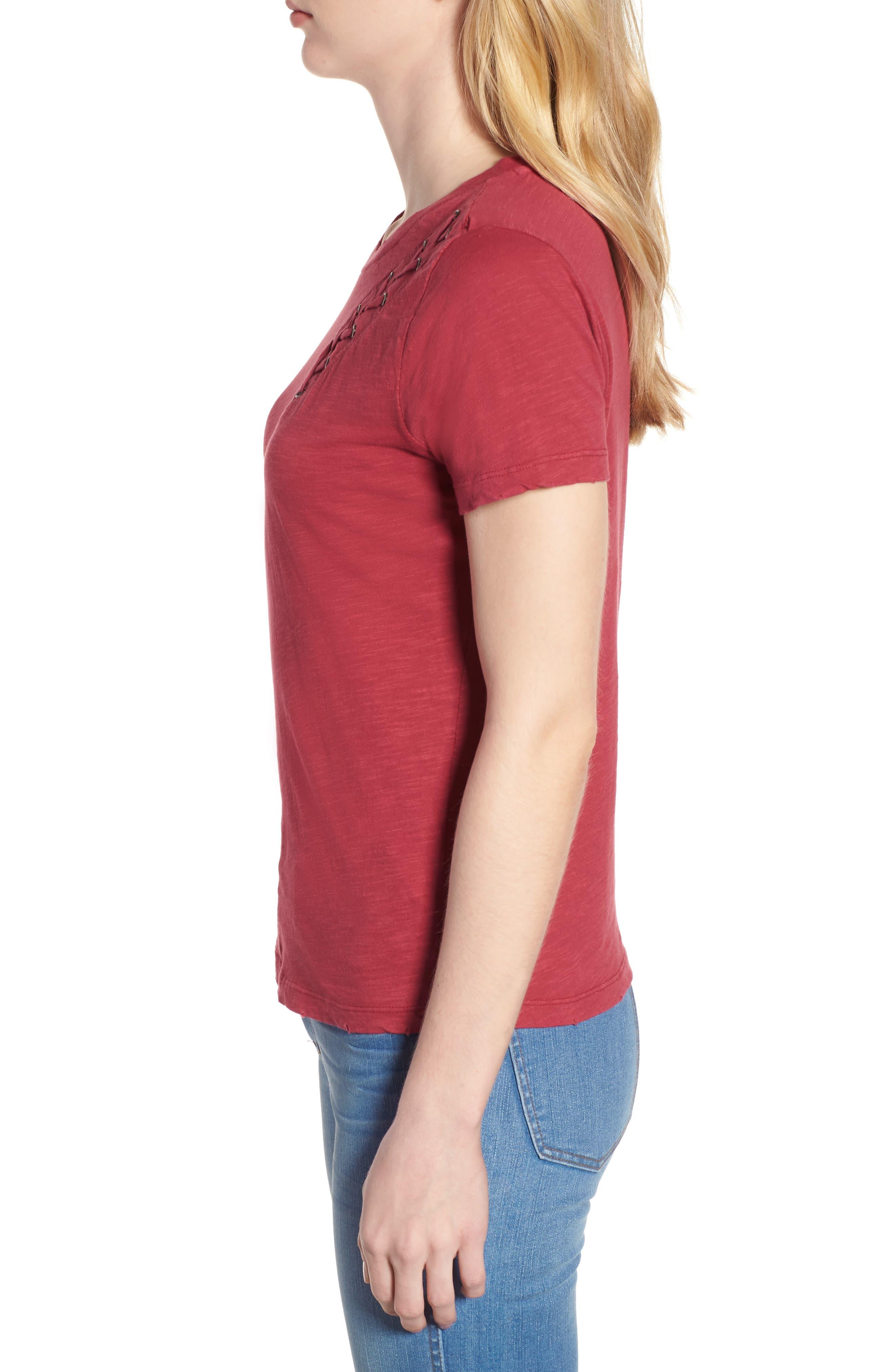 Lace-Up Shoulder Cotton Tee,                             Alternate thumbnail 7, color,