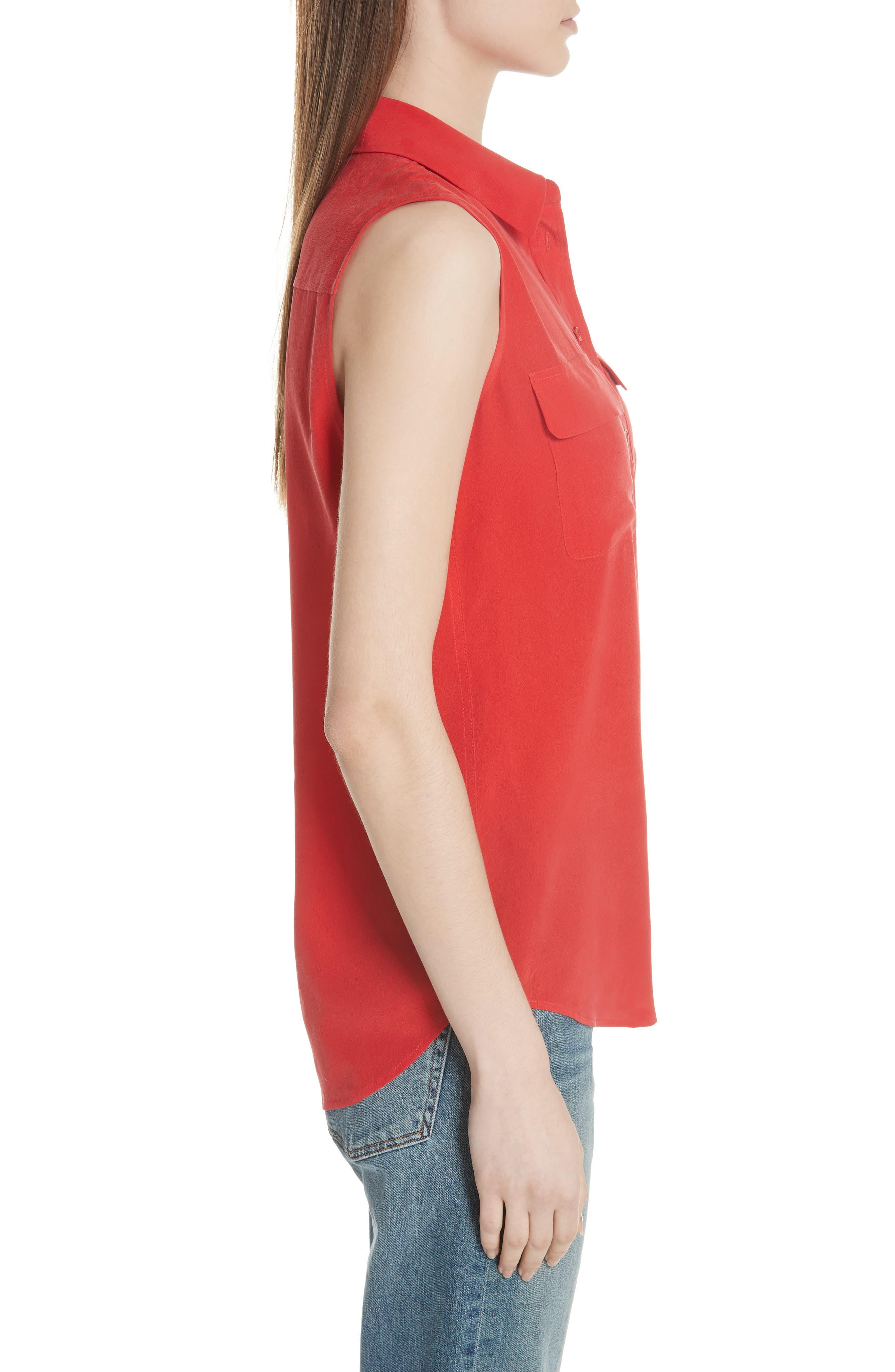 'Slim Signature' Sleeveless Silk Shirt,                             Alternate thumbnail 100, color,