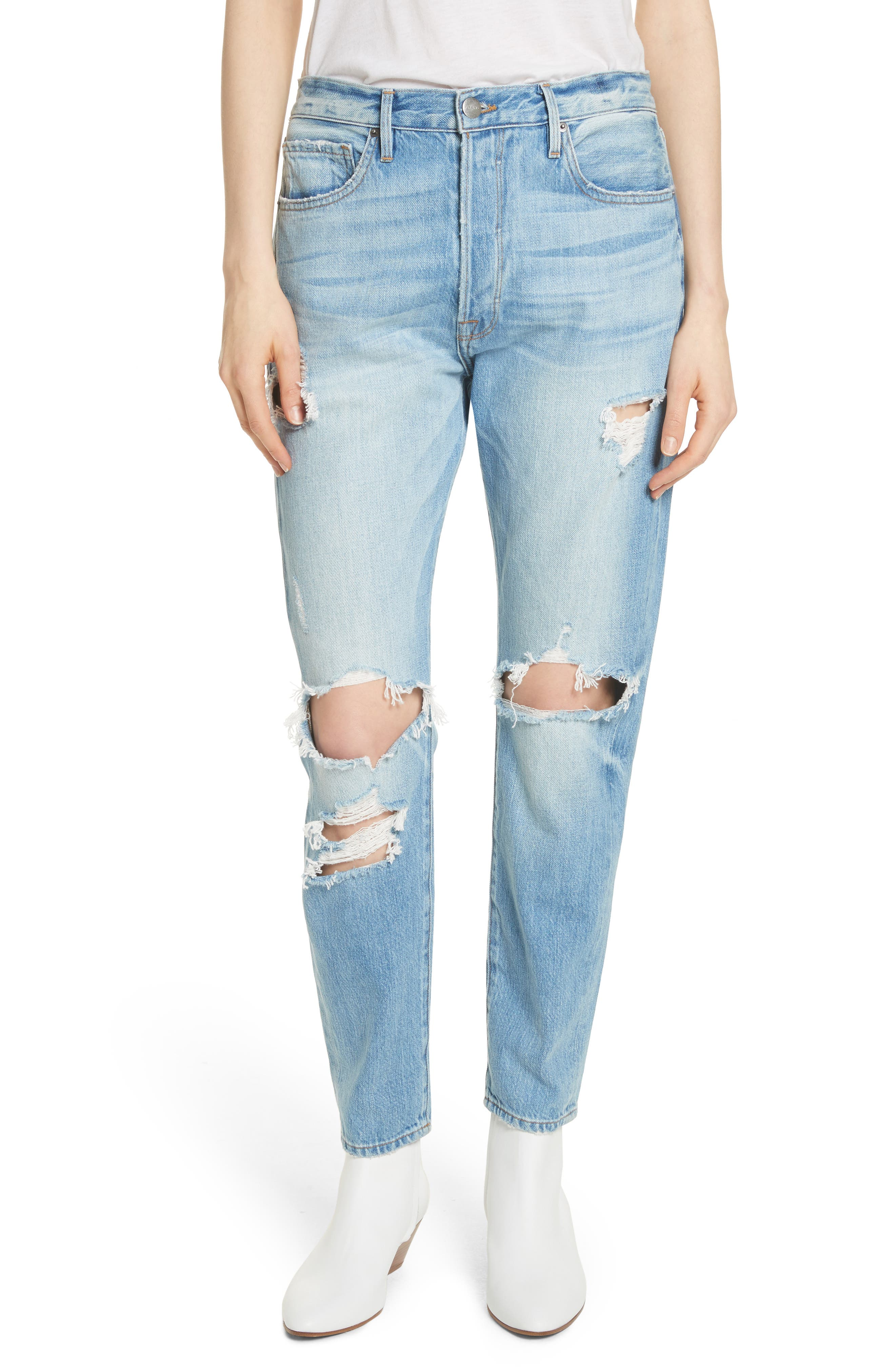 Le Original Ripped High Waist Skinny Jeans,                             Main thumbnail 1, color,                             POMDALE