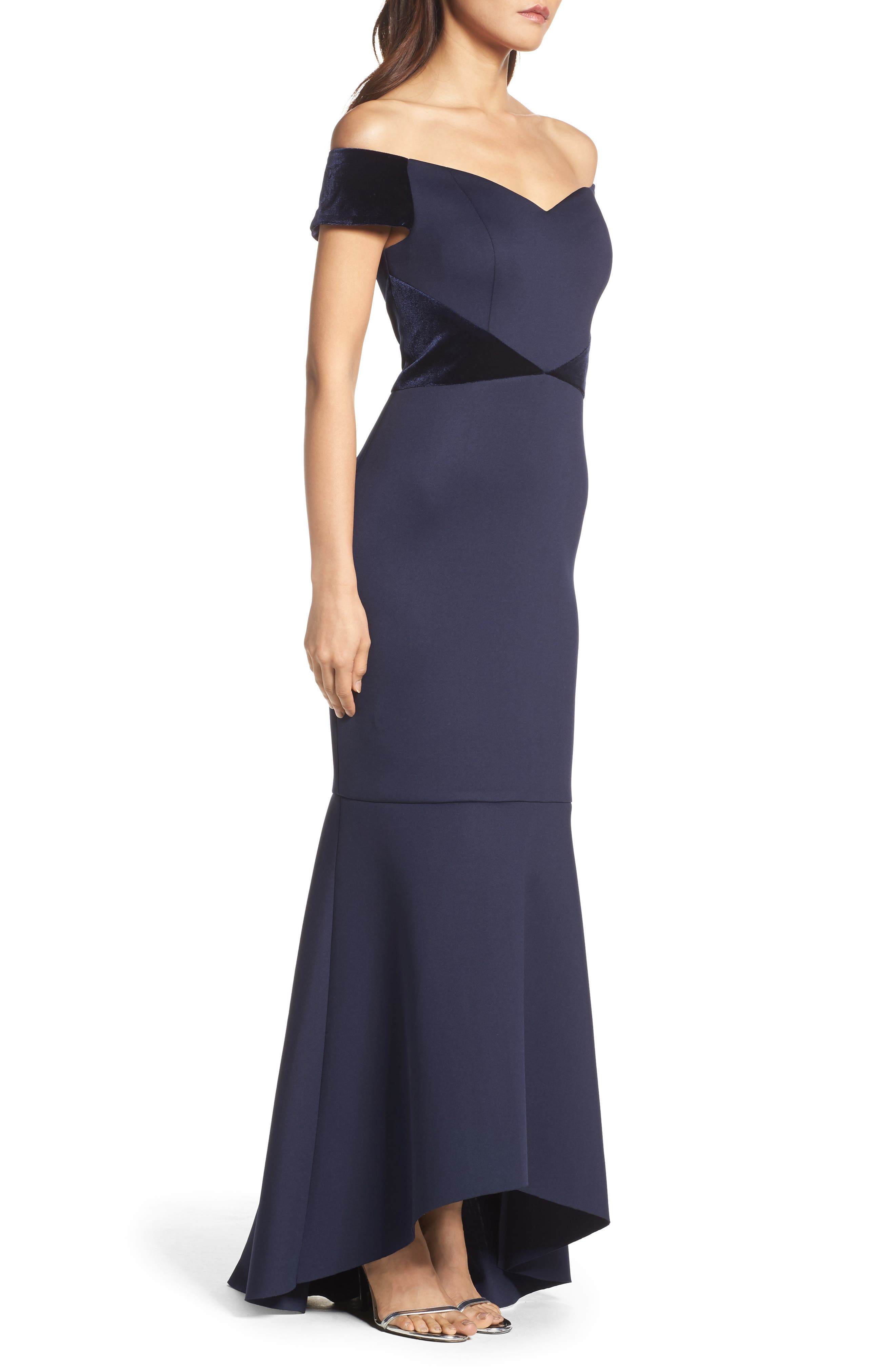 Off the Shoulder High/Low Mermaid Gown,                             Alternate thumbnail 3, color,                             410