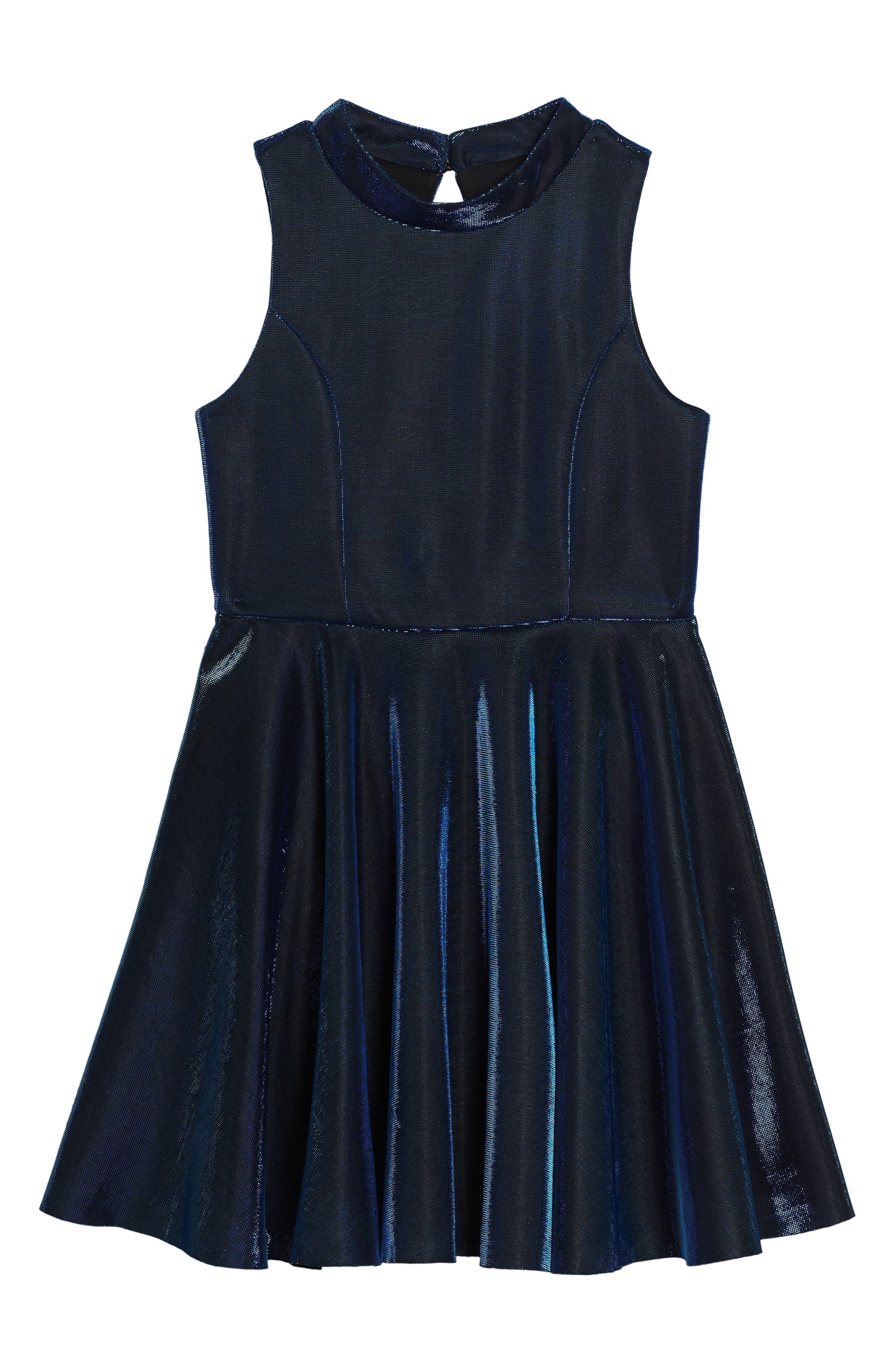 Iridescent Techno Skater Dress,                             Main thumbnail 1, color,                             420