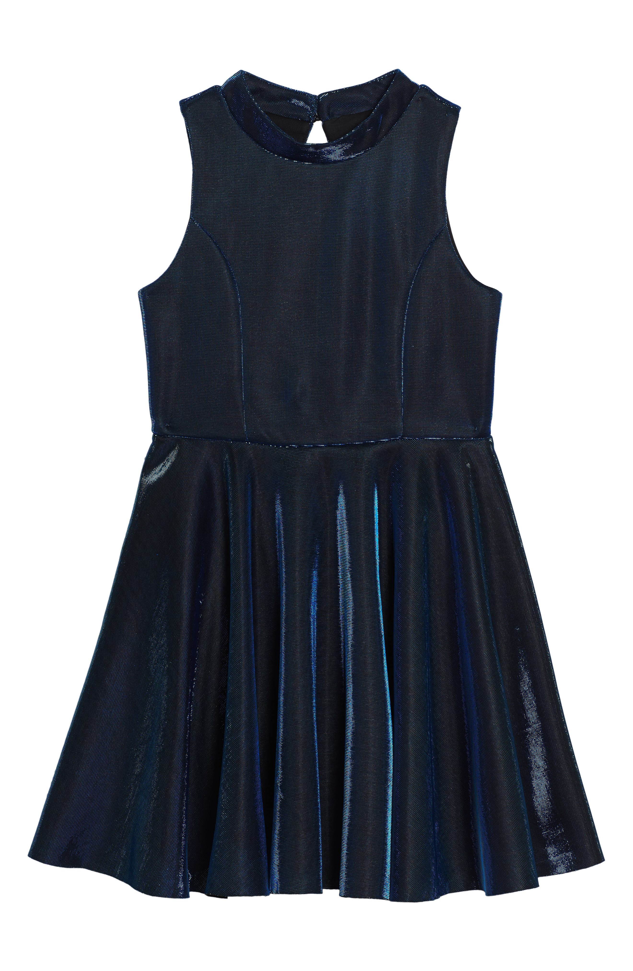 Iridescent Techno Skater Dress,                         Main,                         color, 420