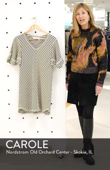 Stripe Ruffle Sleeve Shift Dress, sales video thumbnail